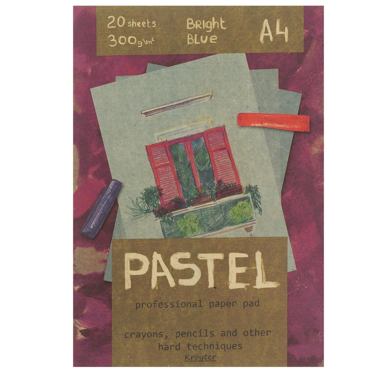Альбом для пастели Kroyter, 20 листов, формат А406500Альбом Kroyter используется для рисования пастелью, мелками, углем. После грунтовки можно использовать для акриловых и масляных красок. Внутренний блок состоит из 20 листов картона голубого цвета. Крепление блока - склейка, выполненная по технологии, позволяющей изымать листы из блока без его разрушения. Твердая подложка позволяет использовать альбом вне класса или дома. Формат листов - А4.Плотность: 300 г/м2.