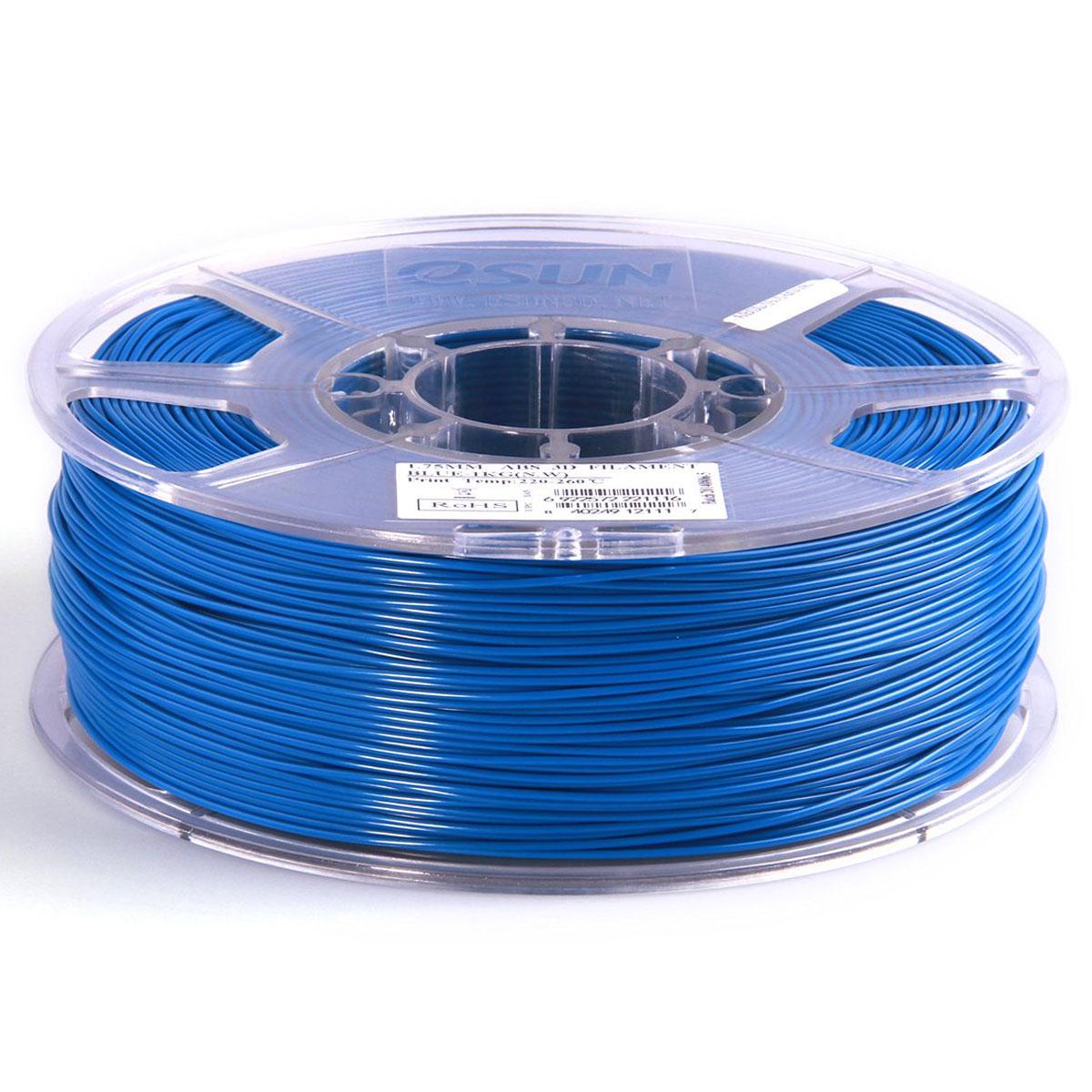 ESUN пластик ABS в катушке, Blue, 1,75 ммABS175U1Пластик ABS от ESUN долговечный и очень прочный полимер, ударопрочный, эластичный и стойкий к моющим средствам и щелочам. Один из лучших материалов для печати на 3D принтере. Пластик ABS не имеет запаха и не является токсичным. Температура плавления220-260°C. АБС пластик для 3D-принтера применяется в деталях автомобилей, канцелярских изделиях, корпусах бытовой техники, мебели, сантехники, а также в производстве игрушек, сувениров, спортивного инвентаря, деталей оружия, медицинского оборудования и прочего.Диаметр пластиковой нити: 1.75 мм