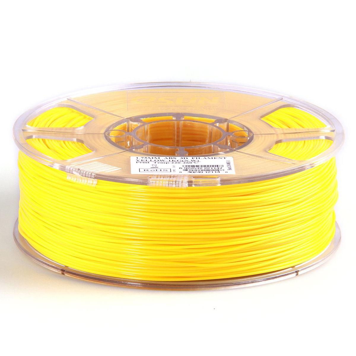 ESUN пластик ABS в катушке, Yellow, 1,75 ммABS175Y1Пластик ABS от ESUN долговечный и очень прочный полимер, ударопрочный, эластичный и стойкий кмоющим средствам и щелочам. Один из лучших материалов для печати на 3D принтере. Пластик ABS не имеетзапаха и не является токсичным. Температура плавления220-260°C. АБС пластик для 3D-принтера применяется в деталях автомобилей, канцелярских изделиях, корпусах бытовойтехники, мебели, сантехники, а также в производстве игрушек, сувениров, спортивного инвентаря, деталейоружия, медицинского оборудования и прочего.Диаметр пластиковой нити: 1.75 мм