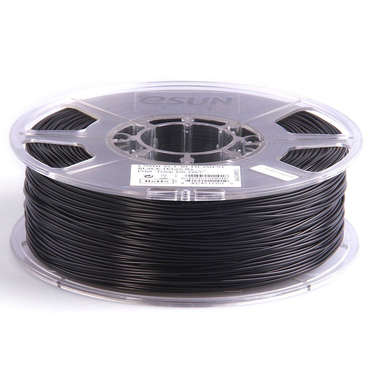 ESUN пластик PLA в катушке, Black, 1,75 ммPLA175B1Пластик PLA от ESUN долговечный и очень прочный полимер, ударопрочный, эластичный и стойкий к моющим средствам и щелочам. Один из лучших материалов для печати на 3D принтере. Пластик не имеет запаха и не является токсичным. Температура плавления190-220°C. PLA пластик для 3D-принтера применяется в деталях автомобилей, канцелярских изделиях, корпусах бытовой техники, мебели, сантехники, а также в производстве игрушек, сувениров, спортивного инвентаря, деталей оружия, медицинского оборудования и прочего.Диаметр нити: 1.75 мм