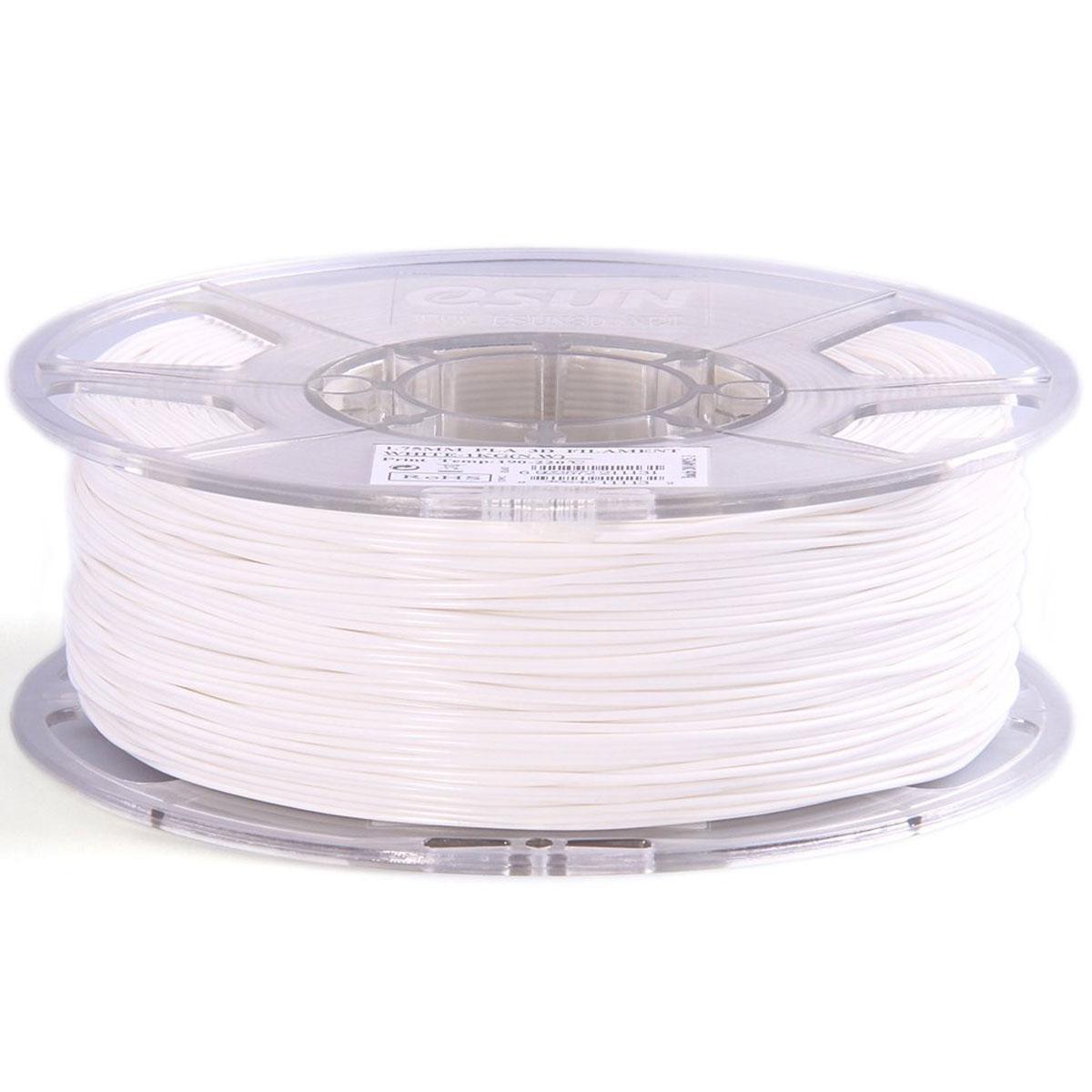 ESUN пластик PLA в катушке, White, 1,75 ммPLA175W1Пластик PLA от ESUN долговечный и очень прочный полимер, ударопрочный, эластичный и стойкий к моющим средствам и щелочам. Один из лучших материалов для печати на 3D принтере. Пластик не имеет запаха и не является токсичным. Температура плавления190-220°C. PLA пластик для 3D-принтера применяется в деталях автомобилей, канцелярских изделиях, корпусах бытовой техники, мебели, сантехники, а также в производстве игрушек, сувениров, спортивного инвентаря, деталей оружия, медицинского оборудования и прочего.Диаметр нити: 1.75 мм