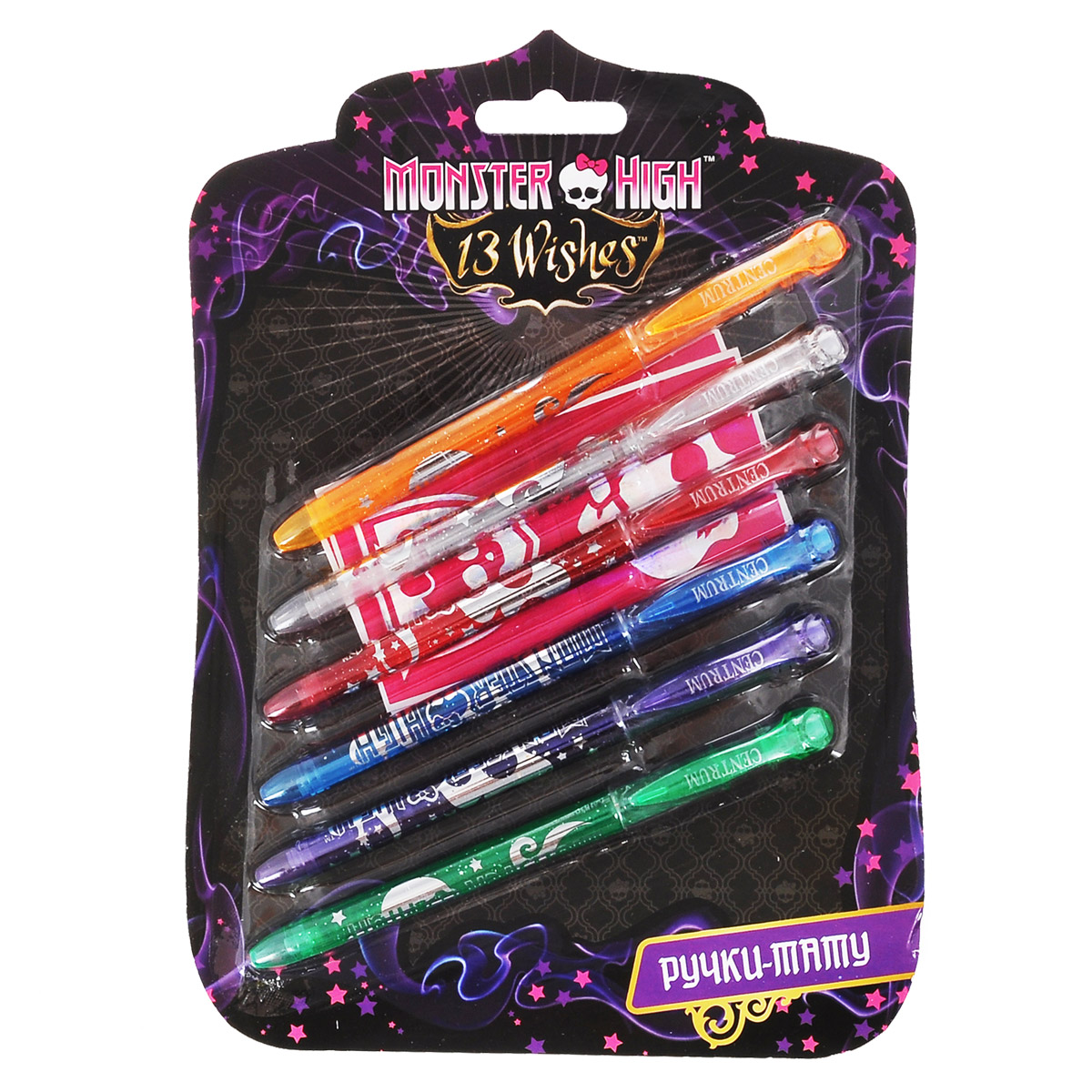 Набор гелевых ручек Centrum Monster High, для нанесения татуировок, 6 шт84988_цвет 2Набор гелевых ручек Centrum Monster High включает 6 ручек ярких цветов - оранжевого, красного, голубого, фиолетового, белого и зеленого. Корпусы ручек украшены блестками и логотипом мультфильма Школа монстров. Ручки имеют современный дизайн и обеспечивают мягкое и четкое письмо практически на любой бумаге, и даже на коже - ваш малыш сможет придумать и нарисовать забавные смывающиеся татуировки для себя и своих друзей. Полупрозрачный корпус ручки позволяет контролировать расход чернил.Ручки закрываются колпачком, оснащенным клип-зажимом.Цвет корпуса соответствует цвету чернил.