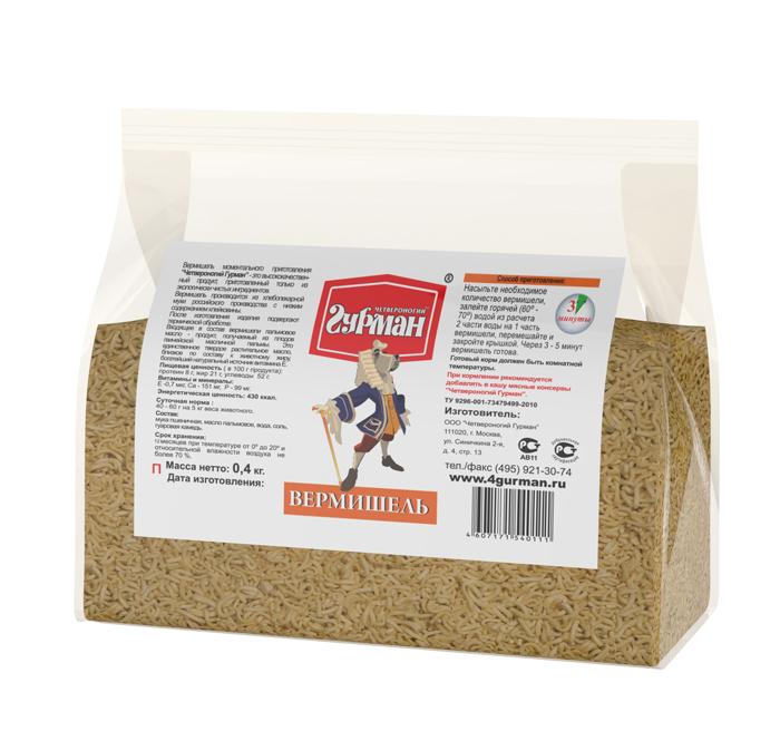 Вермишель моментального приготовления для собак Четвероногий гурман, пакет 400 г mivimex вермишель быстрого приготовления в брикете со вкусом говядины 50 г