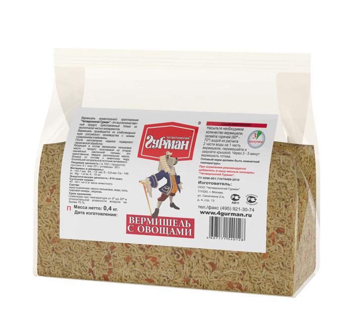 Вермишель моментального приготовления для собак Четвероногий гурман, с овощами, пакет 400 г102104008Вермишель моментального приготовления для собак Четвероногий гурман производится из хлебопекарной муки с низким содержанием клейковины, затем подвергается термической обработке. Продукт изготовлен из экологически чистых ингредиентов, не содержит красителей, ароматизаторов, консервантов. Полезные свойства вермишели: - В состав входит пальмовое масло. Его получают из плодов гвинейской масличной пальмы - это единственное твердое растительное масло, близкое по составу к животному жиру. - Богатейший источник витамина E, который важен для профилактики заболеваний глаз, нервной системы, мышц и кожи. - Благодаря высокой калорийности вермишель рекомендуется для набора веса животным.Для приготовления вермишель необходимо залить горячей (не кипящей) водой и подождать, пока блюдо остынет до комнатной температуры. Состав: мука пшеничная, масло пальмовое, вода, соль, гуаровая камедь, морковь. Пищевая ценность (в 100 г продукта): протеин 8 г, жир 20 г, углеводы 50 г. Витамины и минералы: A 140,7 мкг, В4 1,6 мкг, E 0,8 мкг, Ca 146 мг, Mg 1,9 мг, K 10 мг. Энергетическая ценность: 414 ккал. Товар сертифицирован.