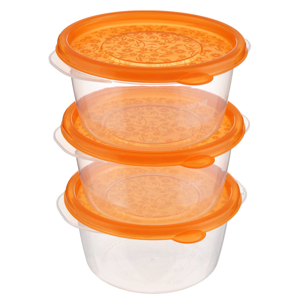 Набор контейнеров Phibo Арт-Декор, цвет: прозрачный, оранжевый, 0,44 л, 3 штС11540Набор Phibo Арт-Декор состоит из трех круглых контейнеров с крышками. Изделия выполнены из пищевого прозрачного полипропилена, без содержания Бисфенола А. Внешние стенки имеют отметки литража. Крышки, украшенные цветочным рисунком, плотно и герметично закрываются. Такой набор контейнеров очень функционален. Их можно использовать дома для хранения пищи в холодильнике, а также для хранения разнообразных сыпучих продуктов, таких как кофе, крупы, соль, сахар. Контейнеры также удобно брать с собой на работу, учебу или в поездку. Можно использовать в микроволновой печи только для разогрева пищи при температуре до +100°С. Подходят для заморозки пищи (минимальная температура -24°С). Можно мыть в посудомоечной машине. Диаметр контейнера (по верхнему краю): 12 см. Высота стенки: 6,5 см.