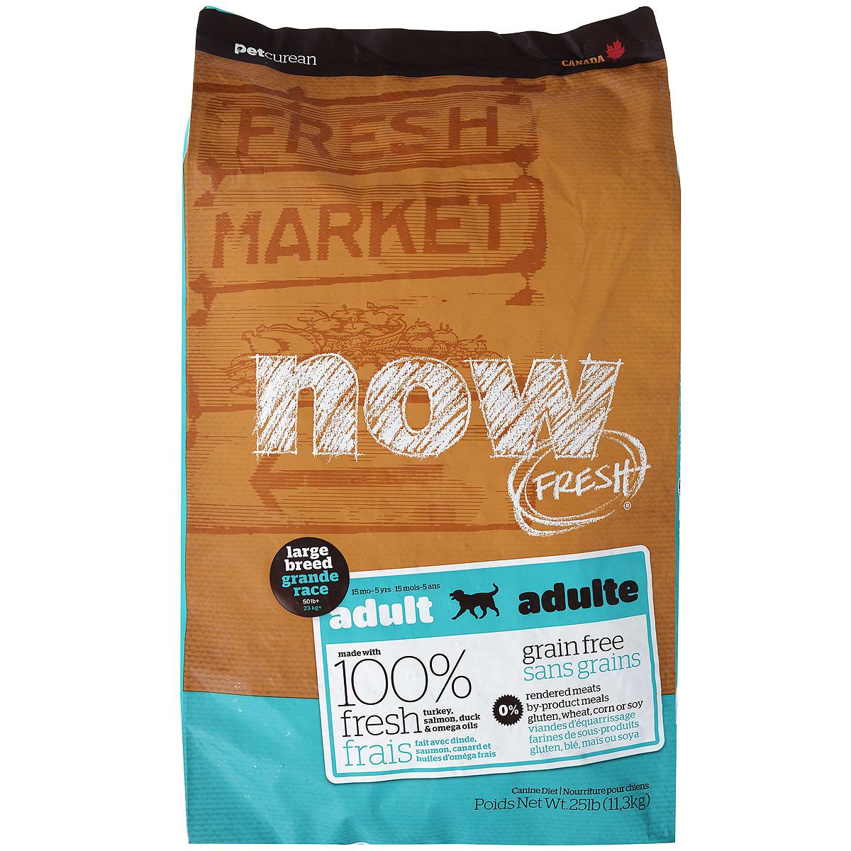 Корм сухой Now Fresh для взрослых собак крупных пород, беззерновой, с индейкой, уткой и овощами, 11,3 кг10127Now Fresh - полностью сбалансированный холистик корм для взрослых собак крупных пород с 15 месяцев до 5 лет из филе индейки и утки, выращенных на канадских фермах, из лосося без костей, выловленного в озерах Британской Колумбии. При производстве кормов используется только свежее мясо индейки, утки, лосося, кокосовое и рапсовое масло. Это первый беззерновой корм с сбалансированным содержание белков и жиров, что помогает вашему животному оставаться здоровым и сохранять отличную форму. Ключевые преимущества: - не содержит субпродуктов, красителей, говядины, мясных ингредиентов, выращенных на гормонах, - новозеландские зеленые мидии, глюкозамин и хондроитин способствуют здоровью суставов, - L-карнитин и таурин необходимы для здоровья сердечно-сосудистой системы, - пробиотики и пребиотики обеспечивают здоровое пищеварение, - омега-масла в составе необходимы для здоровой кожи и шерсти, - антиоксиданты укрепляют иммунную систему. Состав: филе индейки, свежие цельные яйца, картофель, горох, картофельная мука, тапиока, натуральный ароматизатор, утиное филе, филе лосося, семена льна, яблоки, сладкий картофель, фосфат кальция, рапсовое масло, кокосовое масло (источники витамина Е), люцерна, морковь, тыква, бананы, черника, клюква, ежевика, папайя, чечевица, брокколи, шпинат, тыква, гранат, сухой корень цикория, сушеные водоросли, карбонат кальция, натрия , хлорид калия, витамины (витамин А, витамин D3, витамин Е, инозитол, ниацин, L-аскорбил-2-полифосфатов (источник витамина С), D-пантотенат кальция, мононитрат тиамина, бета-каротин, рибофлавин, пиридоксин гидрохлорид, фолиевая кислота, биотин, витамин В12), минералы (цинк метионин комплекс, цинка протеинат, железа протеинат, меди протеинат, оксид цинка, марганца протеинат, сульфат меди, сульфат железа, йодат кальция, оксид марганца, селена, дрожжи ), таурин, DL-метионин, L-лизин, экстракт водорослей, глюкозамин гидрохл