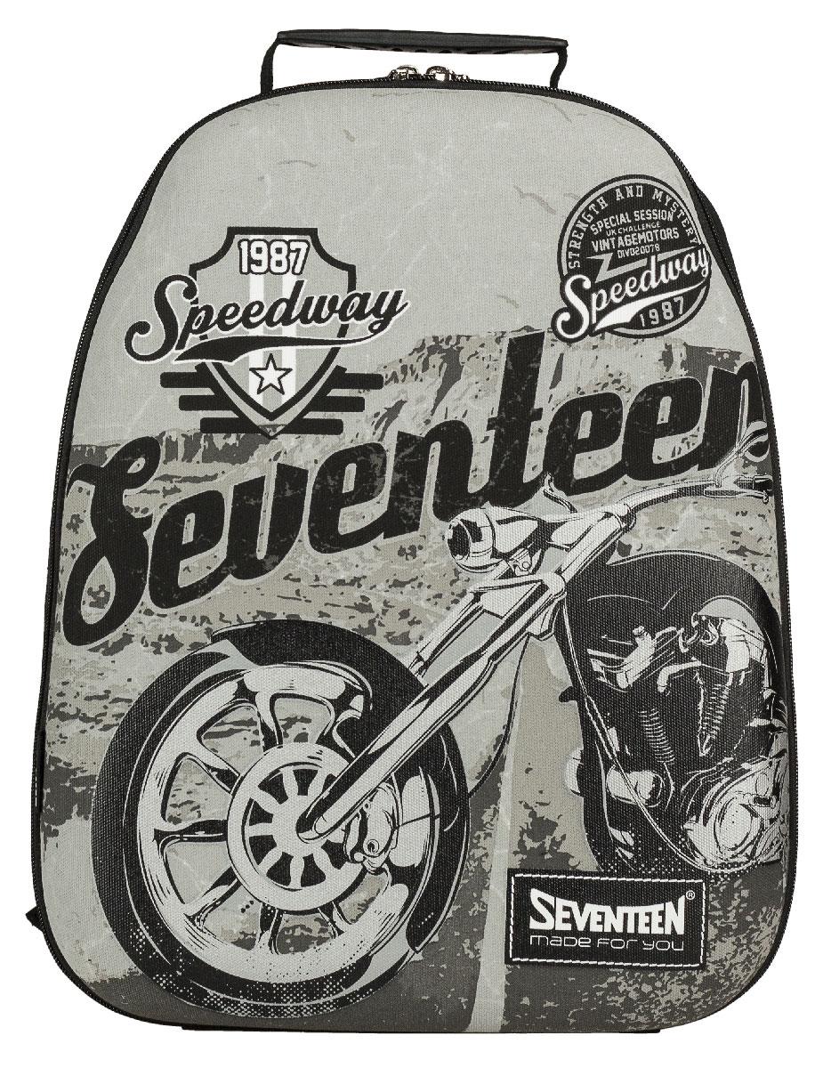 Рюкзак молодежный Seventeen, цвет: черный, серый. SVCB-RT6-E150SVCB-RT6-E150Стильный молодежный рюкзак Seventeen сочетает в себе современный дизайн, функциональность и долговечность. Выполнен из прочных материалов и оформлен изображением мотоцикла.Содержит изделие одно вместительное отделение на застежке-молнии с двумя бегунками. Внутри отделения находятся: открытый карман-сетка, карман-сетка на молнии, две мягкие перегородки и отделение для мобильного телефона. Фронтальная панель рюкзака выполнена из EVA, благодаря чему рюкзак не деформируется. Мягкие широкие лямки регулируются по длине. Рюкзак оснащен эргономичной ручкой для удобной переноски в руке. Этот рюкзак можно использовать для повседневных прогулок, отдыха и спорта, а также как элемент вашего имиджа.Рекомендуемый возраст: от 12 лет.