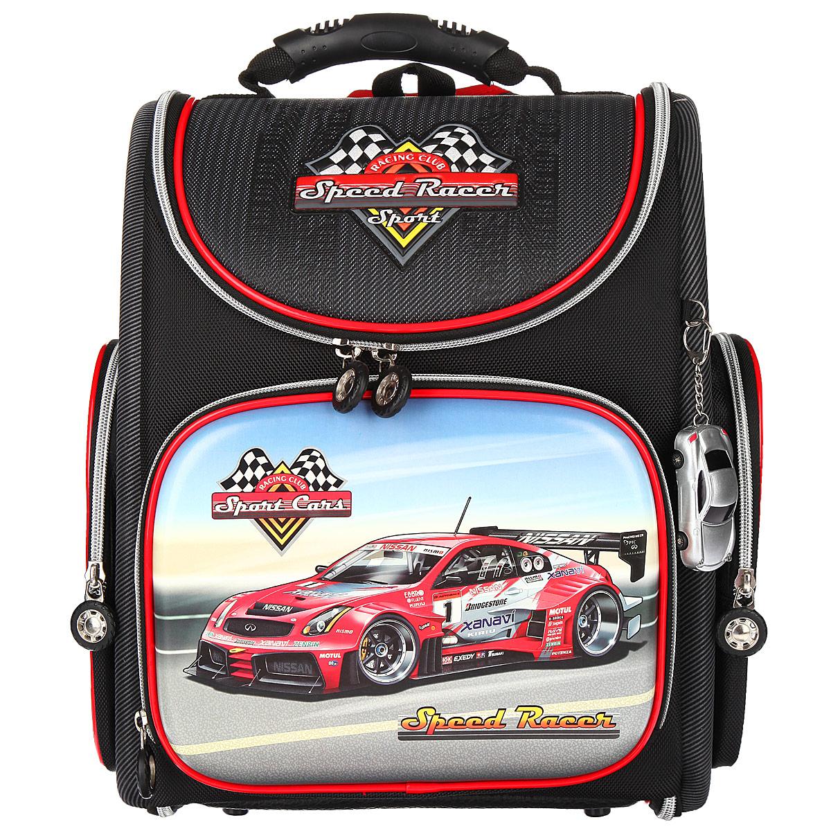 Ранец школьный Hummingbird  Speed Racer , цвет: черный, серый, красный. K43 -  Ранцы и рюкзаки