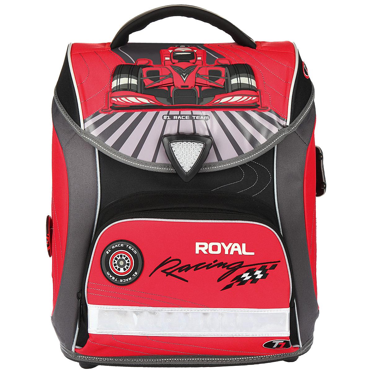 Ранец школьный Hummingbird Royal Racing, цвет: серый, красный, черный. H6H6Эргономичный школьный ранец с жесткой конструкцией Hummingbird Royal Racing выполнен из современного пористого EVA материала, отличающегося легкостью и долговечностью. Изделие оформлено изображением робота и дополнительно оформлено брелоком в форме машинки.Ранец имеет одно основное отделение, закрывающееся на магнитный замок-вертушку. Внутри главного отделения расположены: нашитый карман на молнии, два накладных кармана-разделителя с жесткими стенками. На лицевой стороне ранца расположен накладной карман на молнии. По бокам рюкзака расположены два вшитых кармана на молниях.Спинка ранца Ergo System со специальной дышащей системой дарит комфорт и способствует улучшению осанки ребенка.Ранец оснащен эргономичной ручкой для переноски, двумя широкими лямками, регулируемой длины, и петлей для подвешивания. Дно изготовлено из прочного пластика.Многофункциональный школьный ранец Hummingbird Royal Racing станет незаменимым спутником вашего ребенка в походах за знаниями.