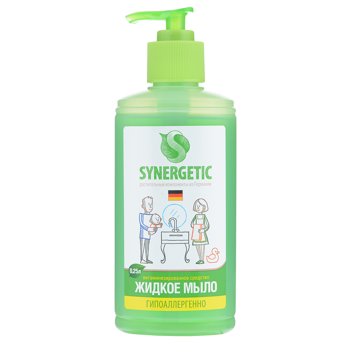 Жидкое мыло Synergetic, 250 мл105025Концентрированное жидкое мыло Synergetic подходит для бережного очищения кожи от любых загрязнений, обладает приятным натуральным ароматом. Особая формула интенсивно питает и защищает вашу кожу, Благодаря только растительным компонентам, входящих в состав, мыло безопасно для детей и животных.Состав: 5-15% А-тензиды (растительного происхождения), глицерин, экстракт полевых трав, пищевой краситель.Товар сертифицирован.Как выбрать качественную бытовую химию, безопасную для природы и людей. Статья OZON Гид