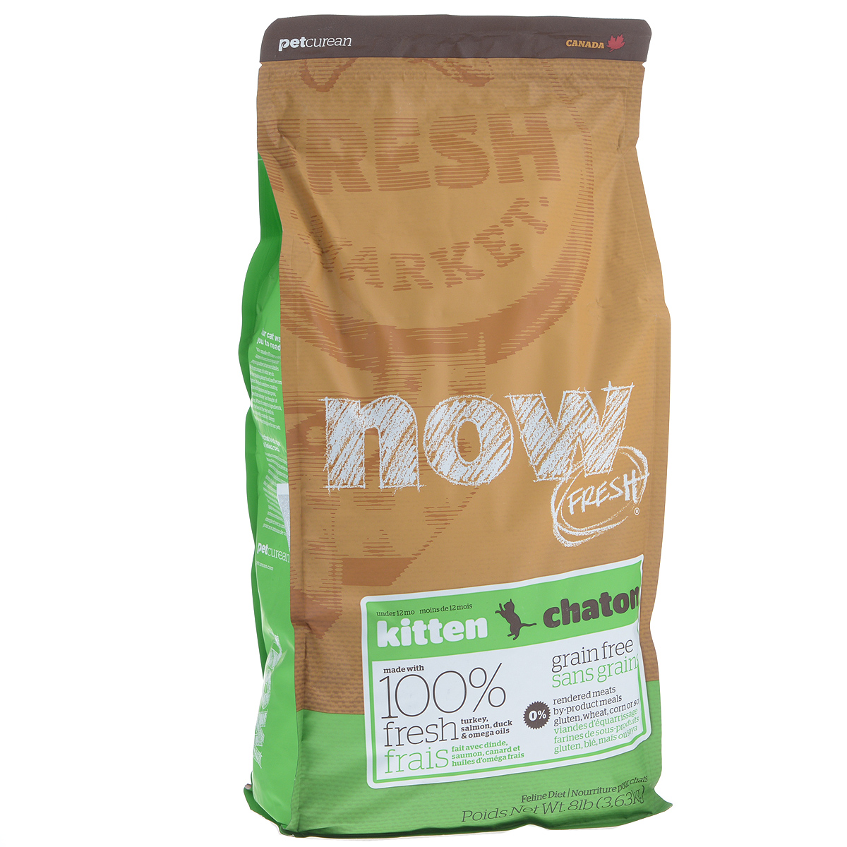 Корм сухой Now Fresh для котят, беззерновой, с индейкой, уткой и овощами, 3,63 кг20040Now Fresh - полностью сбалансированный холистик корм для котят с 5 недели до 1 года из свежего филе индейки, лосося и утки, выращенных на канадских фермах. Также корм подходит беременным и кормящим кошкам. При производстве кормов используется только свежее мясо индейки, утки, лосося, кокосовое и рапсовое масло.Ключевые преимущества: - полностью беззерновой, - не содержит субпродуктов, красителей, говядины, мясных ингредиентов, выращенных на гормонах, - наличие всех питательных компонентов для правильного развития костей и суставов, - оптимальное соотношение белков и жиров помогает кошек оставаться здоровым и сохранять отличную форму, - докозагексаеновая кислота (DHA) и эйкозапентаеновая кислота (EPA) необходима для нормальной деятельности мозга и здорового зрения, - пробиотики и пребиотики обеспечивают здоровое пищеварение, - таурин необходим для здоровья глаз и нормального функционирования сердечной мышцы, - омега-масла в составе необходимы для здоровой кожи и шерсти, - антиоксиданты укрепляют иммунную систему,- профилактика образования комочков шерсти в желудке. Состав: филе индейки, картофель, горох, свежие цельные яйца, картофельная мука, томаты, семена льна, яблоки, филе лосося, утиное филе, масло канолы (источник витамина Е), люцерна, натуральный ароматизатор, кокосовое масло (источник витамина Е), лецитин, морковь, тыква, бананы, черника, клюква, ежевика, папайя, ананас, грейпфрут, чечевица, брокколи, шпинат, творог, ростки люцерны, дикальций фосфат, вяленых люцерна, сушеные водоросли, карбонат кальция, фосфорная кислота, хлорид натрия, лецитин, хлорид калия, DL-метионин, таурин, сушеные водоросли, витамины (витамин Е, L-аскорбил-2-полифосфатов (источник витамина С), никотиновая кислота, инозит, витамин А, мононитрат тиамина, D-пантотенат кальция, пиридоксина гидрохлорид, рибофлавин, бета-каротин, витамин D3, фолиевая кислота, биотин, витамин В12), минералы (протеинат цинка,