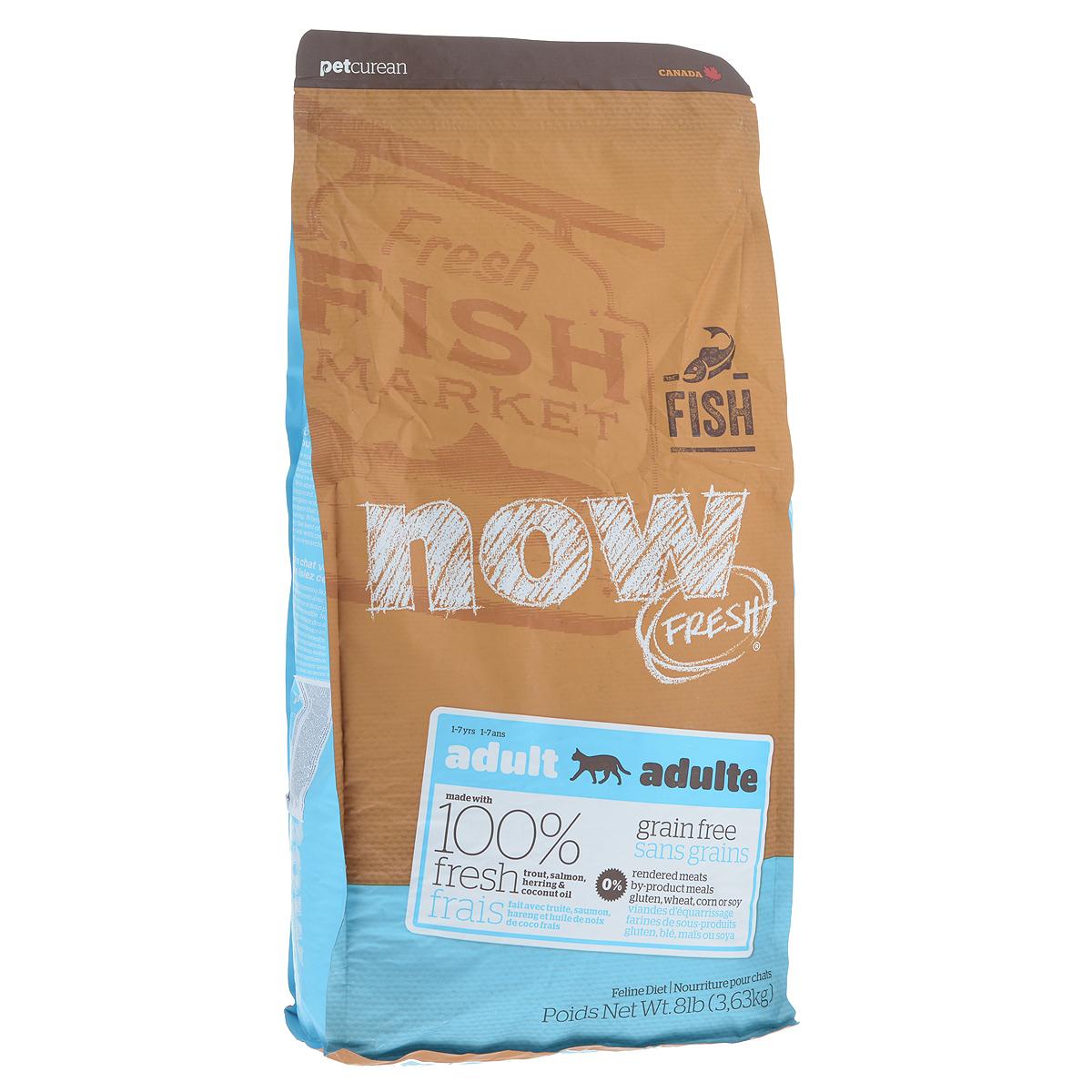 Корм сухой Now Fresh для взрослых кошек с чувствительным пищеварением, беззерновой, с форелью и лососем, 3,63 кг19236Сухой корм Now Fresh для взрослых кошек изготовлен из 100% свежей форели, лосося, сельди, насыщен Омега 3 и 6, а так же маслами кокосового ореха и рапса. Идеально подходит для кошек с чувствительным пищеварением. Не содержит злаков, крахмала, пшеницы, говядины, кукурузы и сои. Состав: филе форели, филе лосося, филе сельди, горошек, картофель, горох волокна, целые сушеные яйца, помидоры, масло канолы (консервированный смесью токоферолов), льняное семя, натуральный ароматизатор, кокосовое масло (консервированный смесью токоферолов), утка, яблоки, морковь, тыква, бананы, черника, клюква, малина, ежевика, папайя, ананас, грейпфрут, чечевица бобы, брокколи, шпинат, творог, ростки люцерны, люцерна, карбонат кальция, фосфорная кислота, хлорид натрия, лецитин, хлорид калия, DL-метионин, таурин, витамины (витамин Е, L-аскорбил-2-полифосфатов (источник витамина С), ниацин, инозитол, витамин А, тиамин мононитрат, пантотенат d-кальция, пиридоксина гидрохлорид, рибофлавин, бета-каротин, витамин D3, фолиевая кислота, биотин, витамин В12 добавки), минералы (протеинат цинка, сульфат железа, оксид цинка, железа протеинат, сульфат меди, медь протеинат, марганца протеинат, оксид марганца, йодат кальция, селенит натрия), дегедрированный бурые водоросли, L-лизин, сушеный корень цикория, дегедрированный Lactobacillus ацидофилин продукт брожения, дегедрированный Enterococcus faecium продукт брожения, дегедрированный Aspergillus Нигер продукт брожения, дегедрированный Aspergillus Oryzae продукт брожения, экстракт юкки Шидигера, L-карнитин, календула, розмарин. Гарантированный анализ: белки (min) - 30%, жиры (min) - 19%, клетчатка (max) - 2,5%, влажность (max) - 10%, зола (max) - 6%, фосфор - 0,5%, магний - 0,09%, таурин - 2400мг/кг, жирные кислоты Омега 6 (min) - 2,2%, жирные кислоты Омега-3 (min) - 0,4%, лактобактерии (Lactobacillus acidophilus, Enterococcus faecium) - 9000