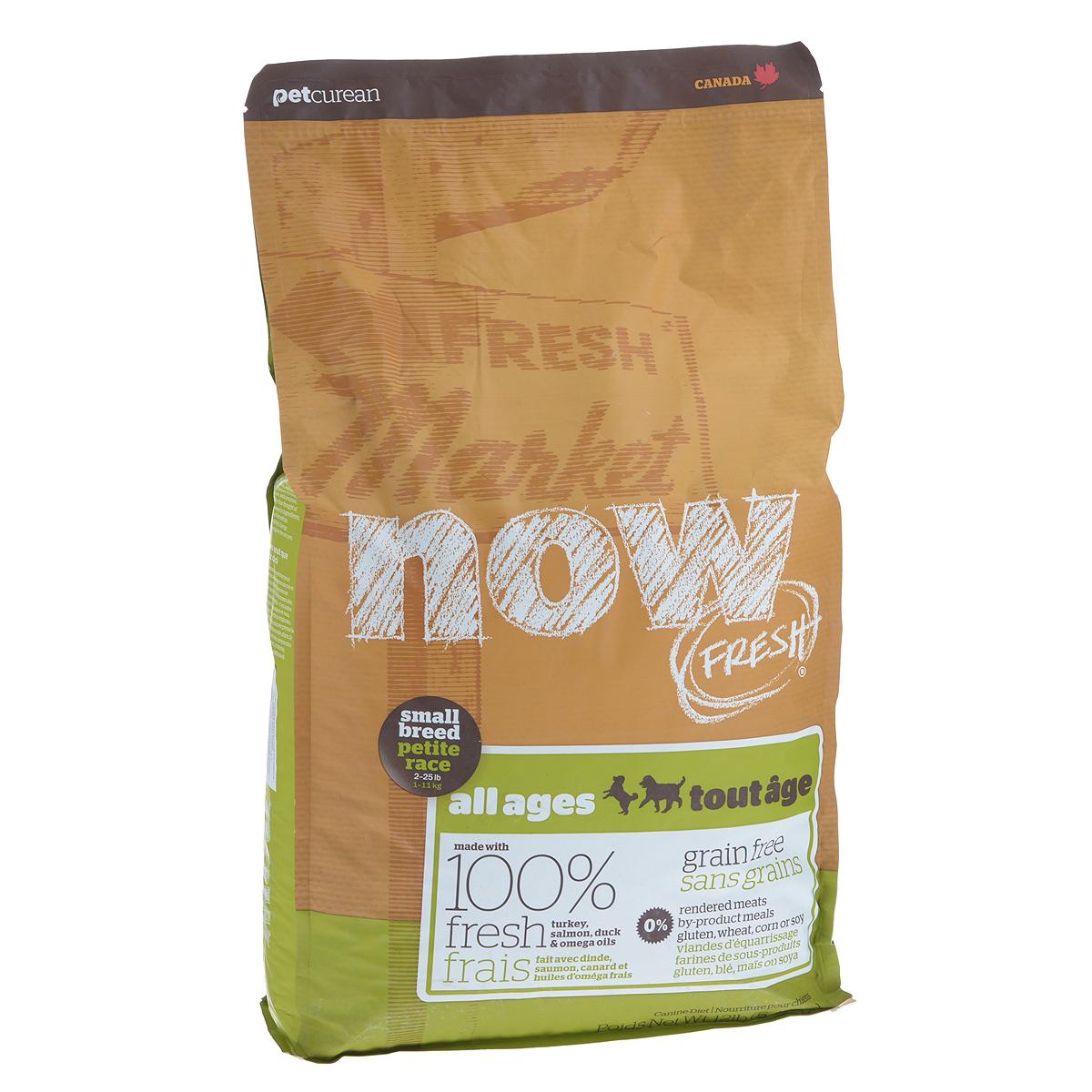 Корм сухой Now Fresh для малых пород собак всех возрастов, беззерновой, с индейкой, уткой и овощами, 5,44 кг10118Now Fresh - полностью сбалансированный холистик корм из свежего филе индейки и утки, выращенных на канадских фермах. Рекомендован для малых пород всех возрастов: для щенков, для взрослых и для активных собак, и для пожилых собак. Это первый беззерновой корм со сбалансированным содержание белков и жиров. Ключевые преимущества: - не содержит субпродуктов, красителей, говядины, мясных ингредиентов, выращенных на гормонах, - гранулы благодаря своей форме бережно очищают зубы, люцерна в составе корма освежает дыхание, - пробиотики и пребиотики обеспечивают здоровое пищеварение, - маленький размер гранул способствует лучшему захвату корма, - докозагексаеновая кислота (DHA) и эйкозапентаеновая кислота (EPA) необходима для нормальной деятельности мозга и здорового зрения, - омега-масла в составе необходимы для здоровой кожи и шерсти, - антиоксиданты укрепляют иммунную систему. Состав: филе индейки, картофель, свежие цельные яйца, горох, льняное семя, яблоки, масло канолы (источник витамина Е), натуральный ароматизатор, утиное филе, филе лосося, кокосовое масло (источник витамина Е), томаты, сушеная люцерна, морковь, тыква, бананы, черника, клюква, малина, ежевика, папайя, ананас, грейпфрут, чечевица, брокколи, шпинат, творог, ростки люцерны, сушеные водоросли, карбонат кальция, дикальций фосфат, лецитин, триполифосфата натрия, хлорид натрия, хлористый калий, витамины (витамин Е, L-аскорбил-2-полифосфатов (источник витамина С), никотиновая кислота, инозит, витамин А, тиамина мононитрат, пантотенатD-кальция, пиридоксина гидрохлорид, рибофлавин, бета-каротин, витамин D3, фолиевая кислота, биотин, витамин В12), минералы (цинка протеинат, сульфат железа, оксид цинка, железа протеинат, сульфат меди, меди протеинат, марганца протеинат, оксид марганца, йодат кальция, селена, дрожжи), таурин, DL-метионин, L-лизин, экстракт водорослей, высушенный корень цикория, Lactobacil