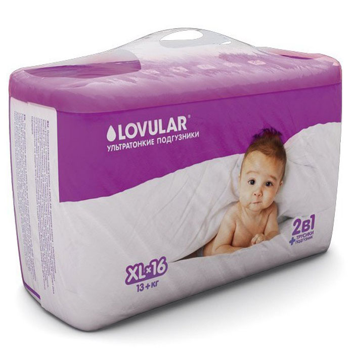 Lovular Подгузники детские, XL, 13 + кг, 16 шт