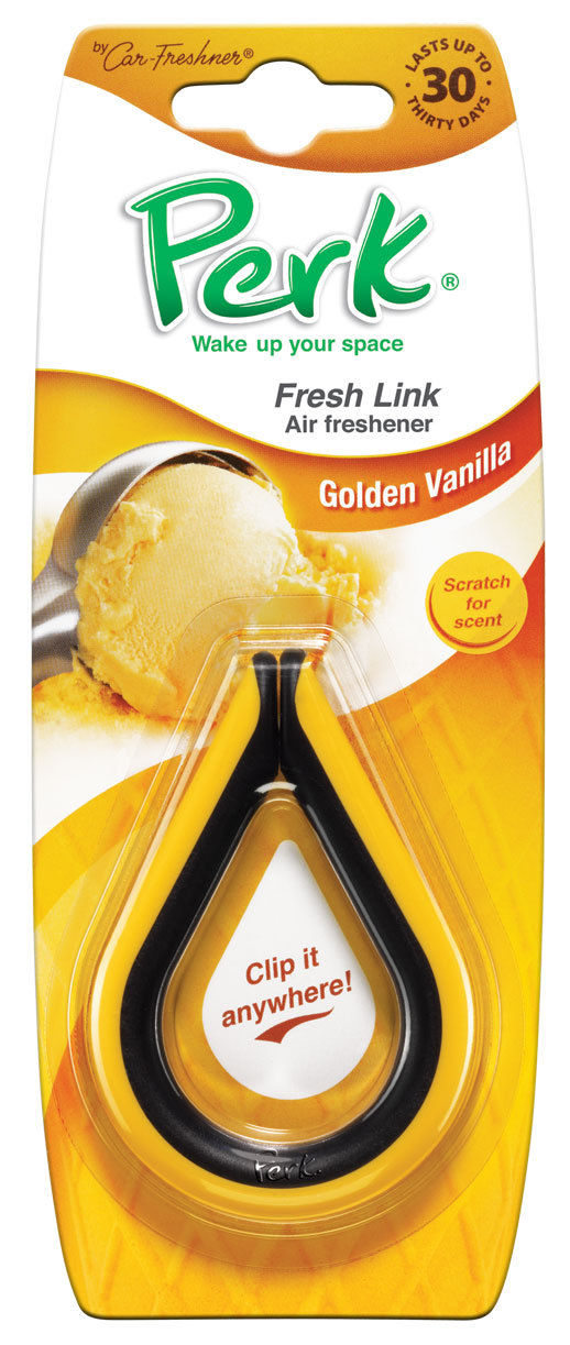 Ароматизатор-клипса Perk Золотая ваниль (Golden Vanilla)CTK-52004-24Ароматизатор-клипса Perk Абсолют предназначен для придания вашему автомобилю, дому или даче - неповторимого стойкого и изысканного аромата. Ароматизатор представляет собой клипсу. Клипса, наполненную парфюмерной композицией, можно подвесить в любом удобном для вас месте.Характеристики:Состав:полимеры, не токсичные отдушки Размер клипсы:8 см х 6 см х 1 см. Размер упаковки:19 см х 7,5 см х 1 см.