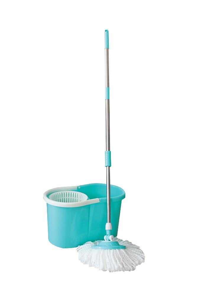 Комплект для мытья пола  Пластик Люкс , с центрифугой, цвет: бирюзовый, белый, 4 предмета - Инвентарь для уборки