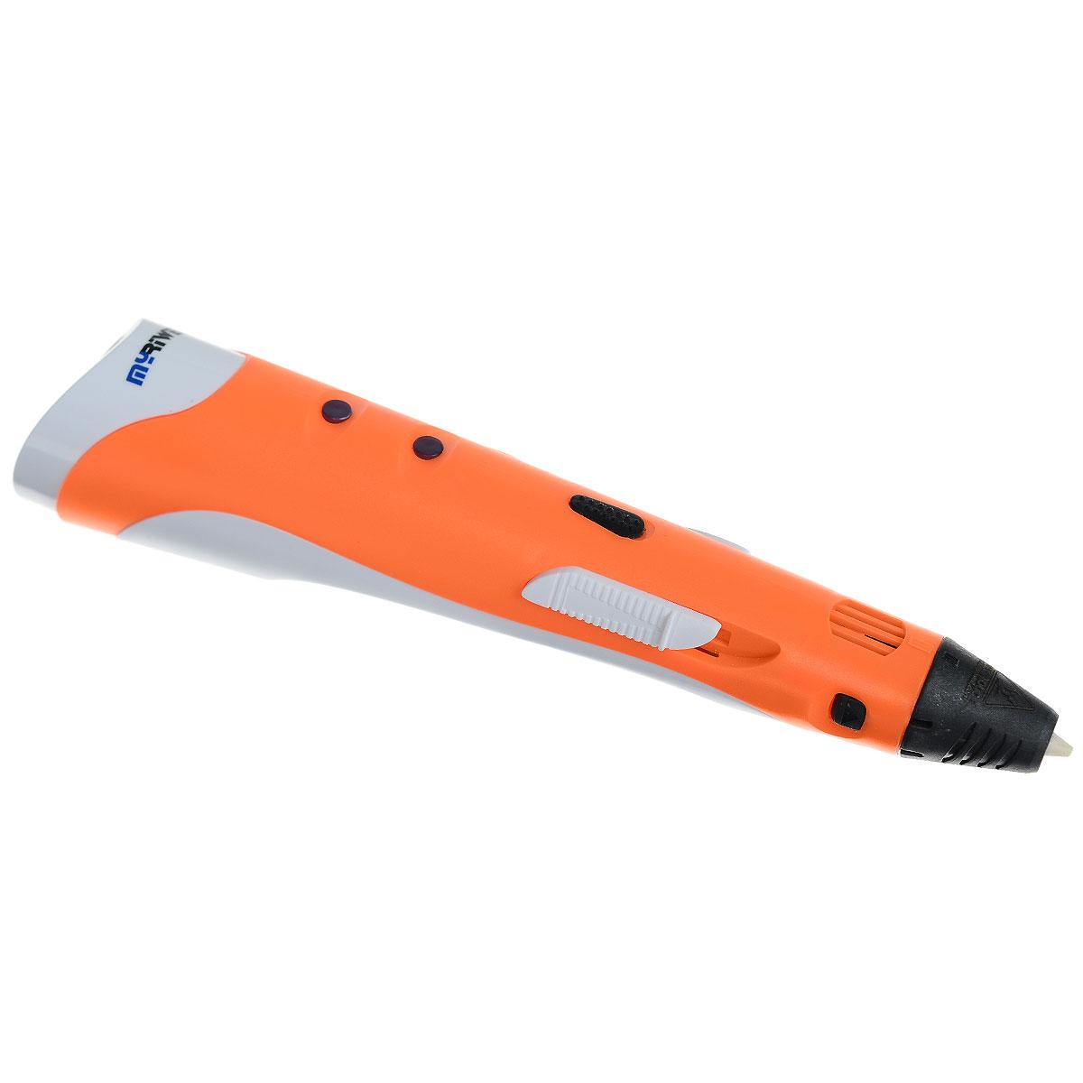 MyRiwell RP100A, Orange 3D ручкаУТ000006540MyRiwell RP100A - 3D-ручка, которая использует для рисования ABS пластик. Она может быть использована как:инструмент для развития воображения и пространственного мышления, для создания концептов, творческоговремя препровождения с членами семьи и друзьями, создания игрушек своими руками. С ее помощью можносоздать очень много интересных поделок, ведь она даже вертикально рисовать умеет. Новизна данного продуктадаёт её владельцу безграничные возможности для её применения. Ручка удобно лежит в руке, за счет новогоэргономичного дизайна. Блок питания имеет предохранитель, что позволяет защитить 3D ручку от перепадовнапряжения. Данная модель имеет функцию автоматического отключения, если не используется в течение 7минут. Для того чтобы ручка начала снова работать, нужно нажать на кнопку подачи пластика. Пользоваться 3D- ручкой могут дети от 8 лет.