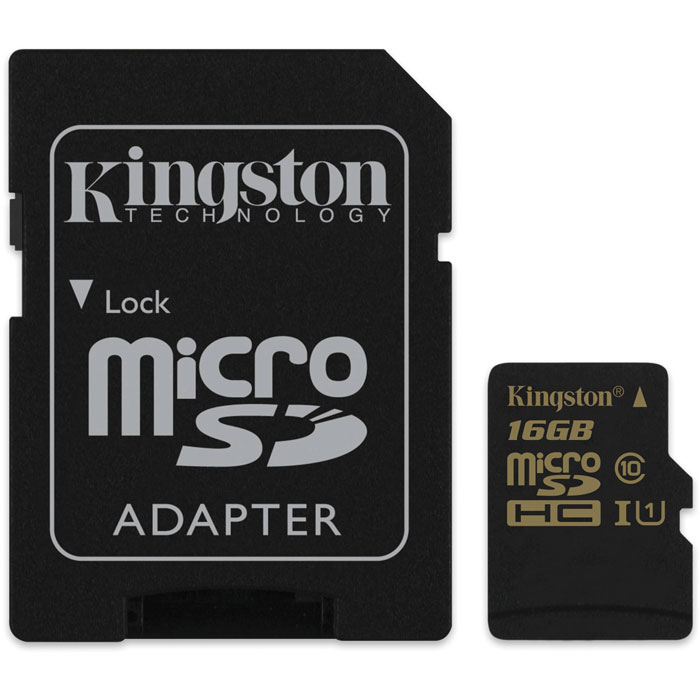 Kingston microSDHC Class 10 UHS-I 16GB карта памяти (SDCA10/16GB) + адаптер