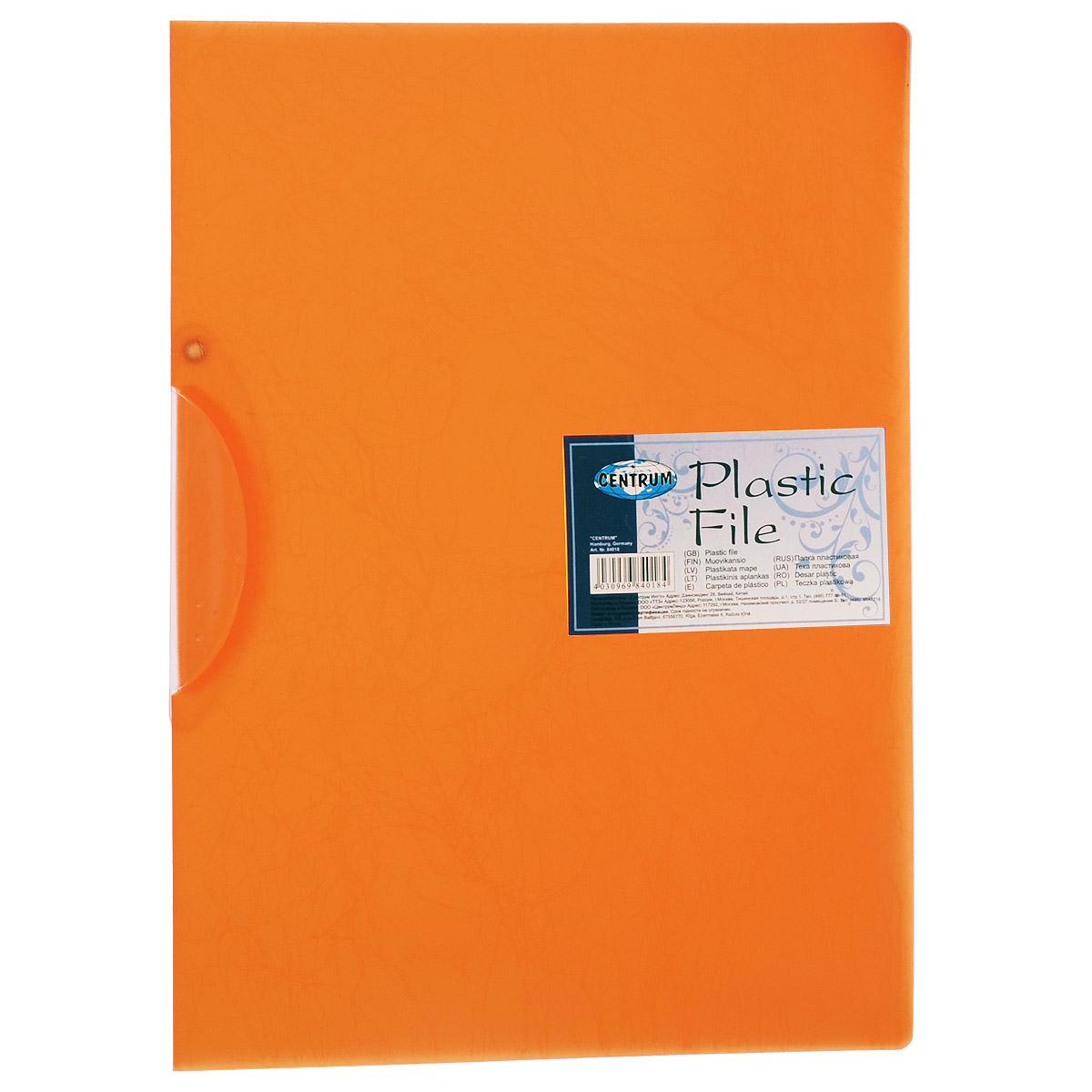 Папка с клипом Centrum, цвет: оранжевый. Формат А484018_оранжевыйПапка с клипом Centrum станет вашим верным помощником дома и в офисе. Это удобный и функциональный инструмент, предназначенный для хранения и транспортировки рабочих бумаг и документов формата А4.Папка изготовлена из прочного высококачественного пластика толщиной, оснащена боковым поворотным клипом, позволяющим фиксировать неперфорированные листы. Уголки имеют закругленную форму, что предотвращает их загибание и помогает надолго сохранить опрятный вид обложки. Папка оформлена изящным тиснением под шелкографию.Папка - это незаменимый атрибут для любого студента, школьника или офисного работника. Такая папка надежно сохранит ваши бумаги и сбережет их от повреждений, пыли и влаги.