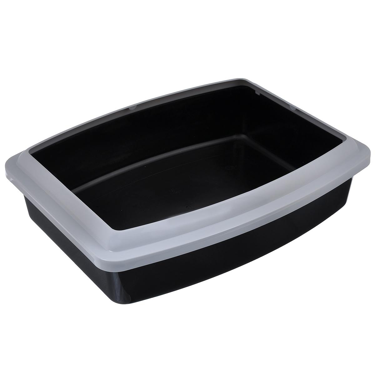 Туалет для кошек Savic  Oval Trays Jumbo , с бортом, цвет: черный, серый, 56 х 44 см