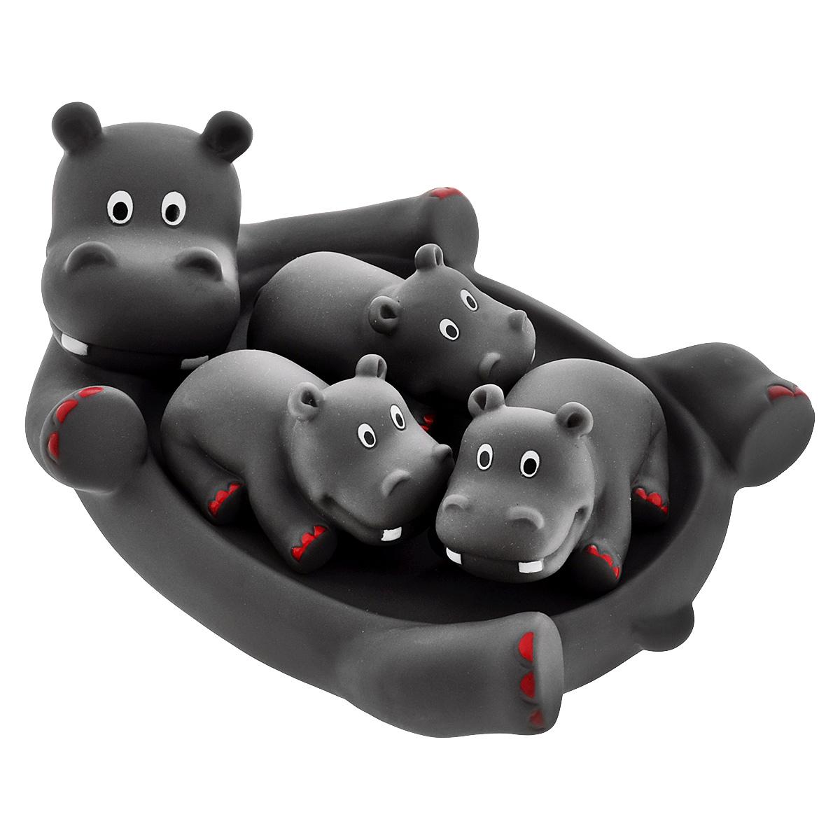 Игровой набор для ванны Mioshi Семья бегемотиков, 4 шт игрушки для ванны tolo toys набор ведерок квадратные