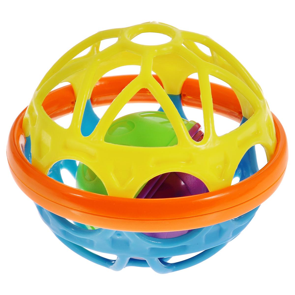 Погремушка Mioshi Гибкий шар, цвет: желтый, голубой погремушка mioshi гибкий шар цвет желтый голубой