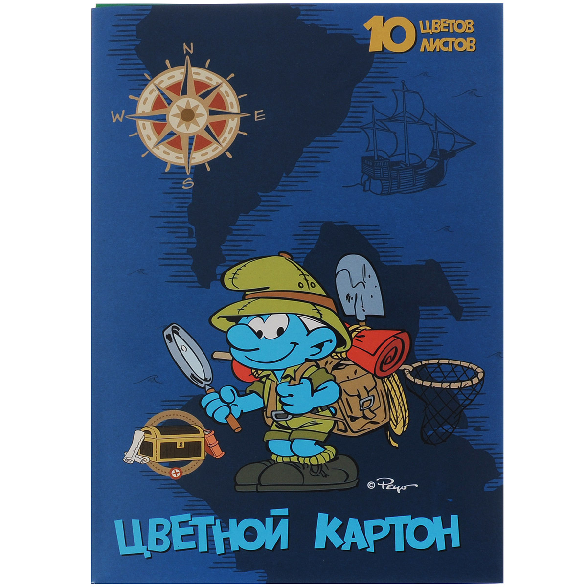 """Цветной картон """"Смурфики"""", 10 цветов, The Smurfs"""