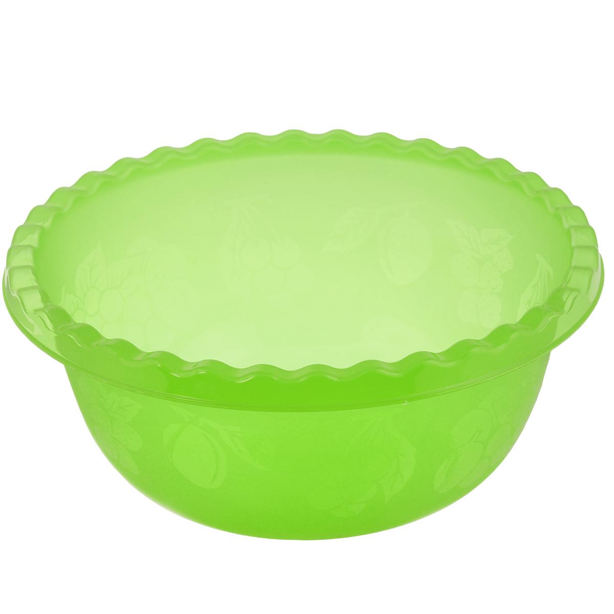 """Вместительная миска """"Idea"""" изготовлена из высококачественного пищевого пластика. Изделие  очень функциональное, оно пригодится на кухне для самых разнообразных нужд: в качестве  салатника, миски, тарелки. По периметру миска украшена узором в виде фруктов.  Диаметр миски: 28,5 см. Высота миски: 12 см. Объем: 5 л."""