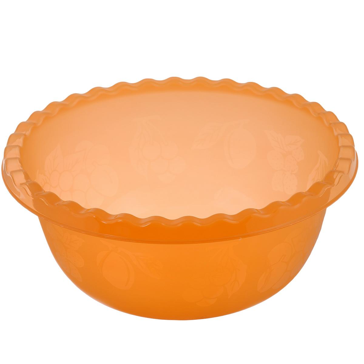 Миска Idea, цвет: оранжевый, 5 лМ 1313Вместительная миска Idea изготовлена из высококачественного пищевого пластика. Изделие очень функциональное, оно пригодится на кухне для самых разнообразных нужд: в качестве салатника, миски, тарелки. По периметру миска украшена узором в виде фруктов.Диаметр миски: 28,5 см.Высота миски: 12 см.Объем: 5 л.