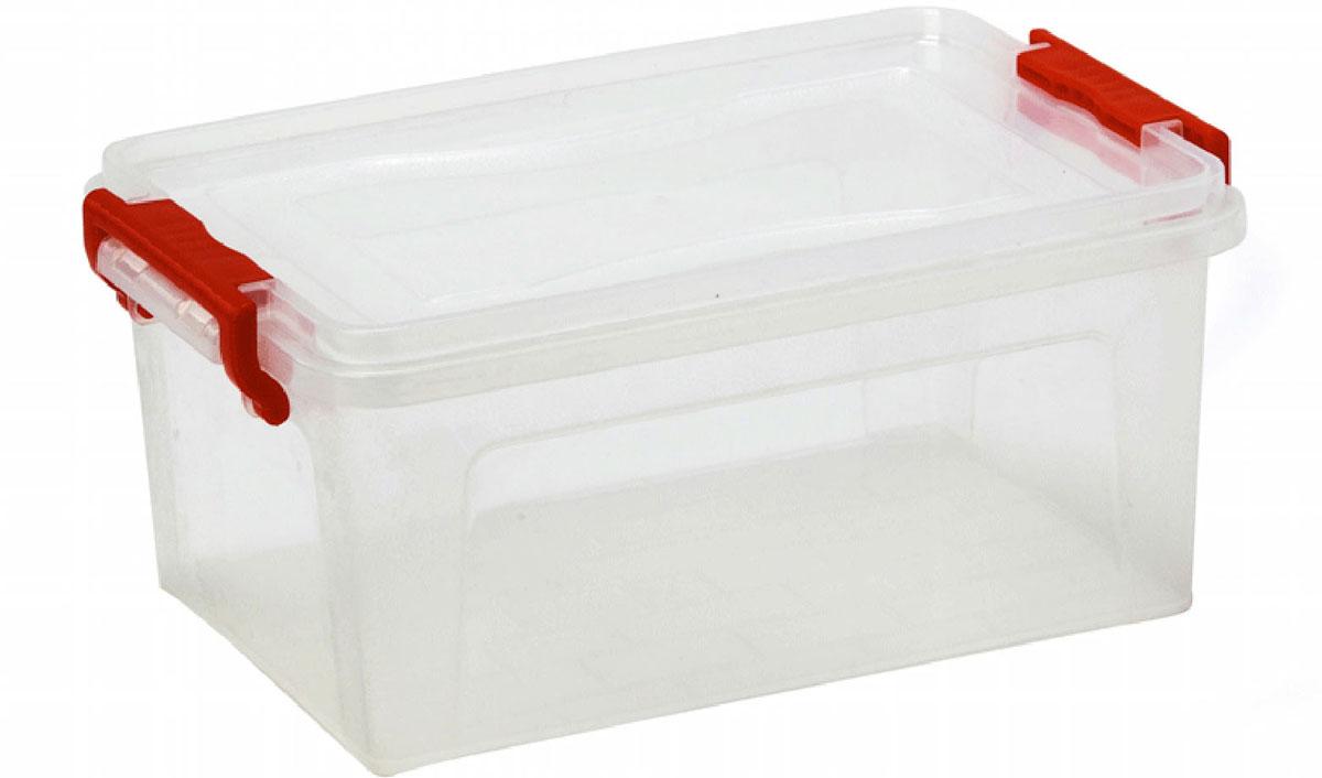 Контейнер для хранения Idea, прямоугольный, цвет: прозрачный, красный, 8,5 л