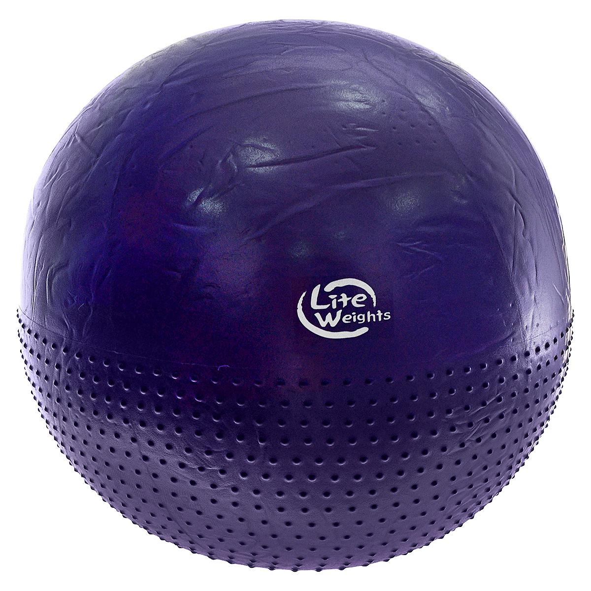 Мяч гимнастический Lite Weights, массажный, цвет: фиолетовый, диаметр 75 см. BB010-30233078Гимнастический мяч (фитбол) Lite Weights изготовлен из силикона. Мяч предназначен для занятий фитнесом, аэробикой, лечебной физкультурой, а также обеспечивает улучшение кровообращения. Фитбол является универсальным тренажером для всех групп мышц, помогает развить гибкость, исправить осанку, снимает чувство усталости в спине. Мяч Lite Weights снабжен системой Антивзрыв - специальный технологией, предупреждающей мяч от разрыва при сильной нагрузке. Благодаря пупырчатой поверхности, фитбол можно использовать для массажа, выполняя несложные упражнения. Преимущества гимнастических мячей: - их могут использовать люди, страдающие лишним весом и варикозным расширением вен; - во время тренировки задействуются практически все группы мышц;- используются при занятиях лечебной гимнастикой, аэробикой, фитнесом;- способствуют восстановлению мышечных функций и улучшению здоровья в целом.В комплект входит пластиковый ручной насос.Йога: все, что нужно начинающим и опытным практикам. Статья OZON Гид