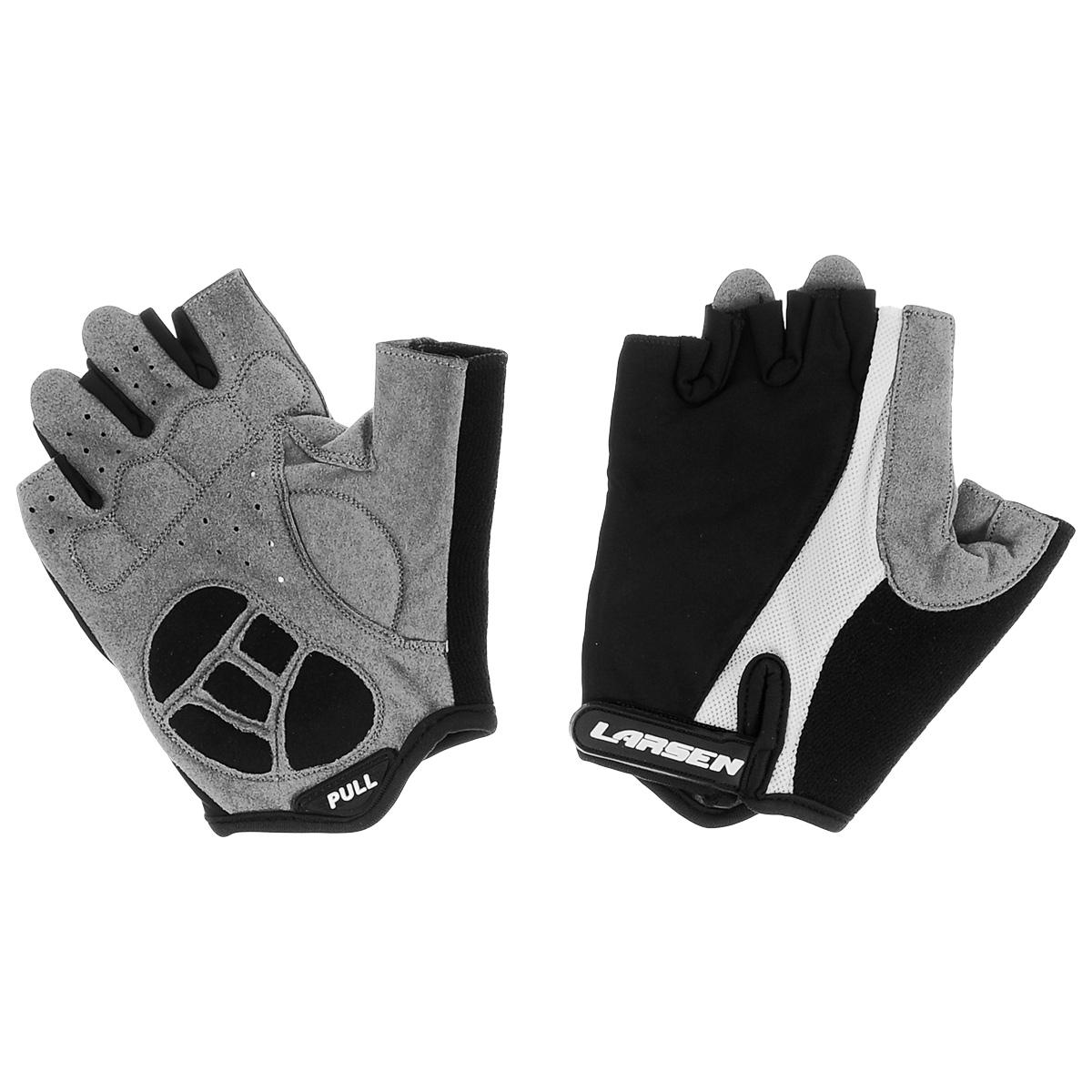 Велоперчатки Larsen, цвет: черный, серый, белый. Размер S. 01-122601-1226Велоперчатки Larsen выполнены из высококачественного нейлона и амары. На ладонях расположены мягкие вставки для повышенного сцепления и системой Pull Off на пальцах. Застежка Velcro надежно фиксирует перчатки на руке. Сетка способствует хорошей вентиляции.