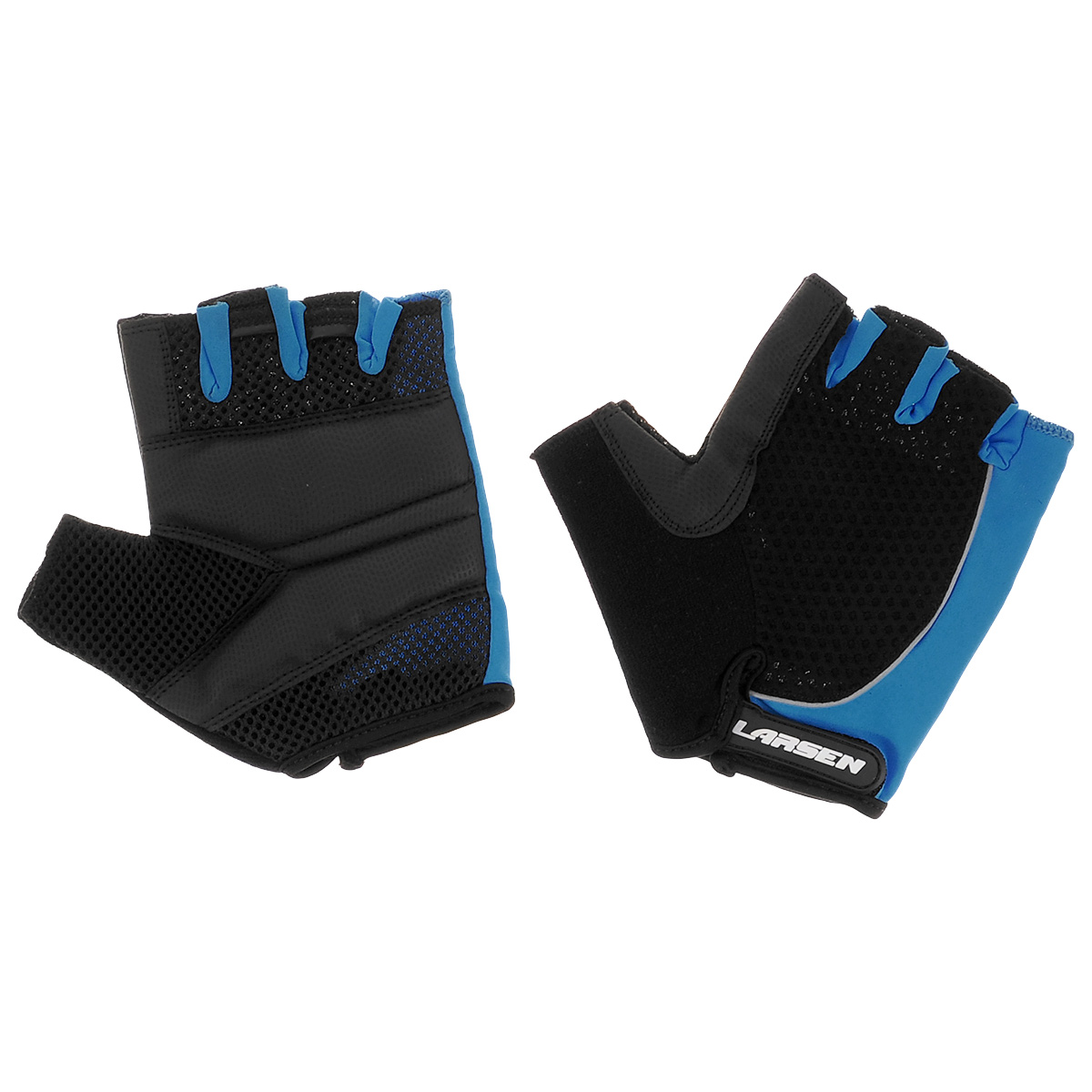 Велоперчатки Larsen, цвет: черный, синий. Размер M01-1232Велоперчатки Larsen выполнены из высококачественного нейлона и амары. Ладони оснащены накладкой из полиуретана для повышенного сцепления и системой Pull Off на пальцах. Застежка Velcro надежно фиксирует перчатки на руке. Сетка способствует хорошей вентиляции.