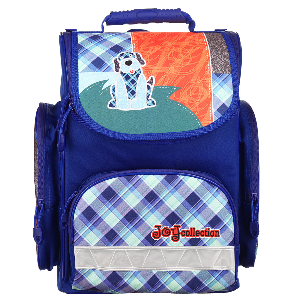 Ранец школьный Tiger Family Joy Collection, цвет: синий, голубой, оранжевый3901/TG_синийРанец школьный Tiger Family Joy Collection идеально подойдет для школьников.Ранец выполнен из прочного и водонепроницаемого материала синего, голубого и оранжевого цветов. Изделие оформлено изображением в виде забавной собачки.Содержит одно вместительное отделение, закрывающееся на застежку-молнию с двумя бегунками. Внутри отделения имеются две мягких перегородки для тетрадей или учебников. Крышка полностью откидывается, что существенно облегчает пользование ранцем. На внутренней части крышки находится прозрачный пластиковый кармашек, в который можно поместить данные о владельце ранца. Ранец имеет два боковых накладных кармана на молнии. Лицевая сторона ранца оснащена накладным карманом на застежке-молнии.Спинка ранца достаточно твердая. В нижней части спины расположен поясничный упор - небольшой валик, на который при правильном ношении ранца будет приходиться основная нагрузка. Ранец оснащен ручкой с пластиковой насадкой для удобной переноски в руке и петлей для подвешивания. Мягкие лямки позволяют легко и быстро отрегулировать ранец в соответствии с ростом ребенка. Дно ранца из износостойкого водонепроницаемого материала легко очищается от загрязнений.Светоотражающие элементы обеспечивают дополнительную безопасность в темное время суток.Многофункциональный школьный ранец станет незаменимым спутником вашего ребенка в походах за знаниями.