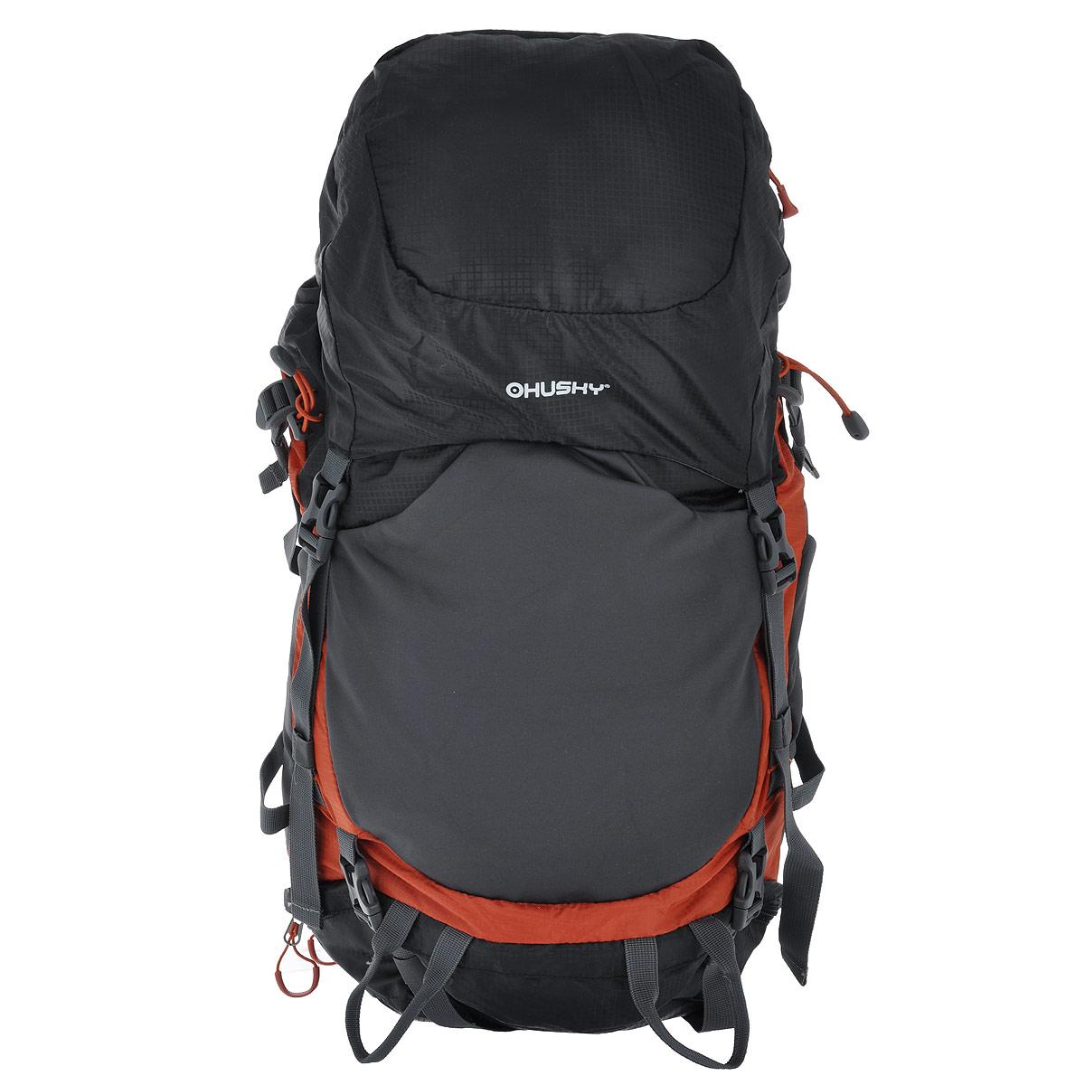 Рюкзак туристический Husky Menic, цвет: черный, серый, оранжевый, 50 лУТ-000066092Рюкзак Husky Menic - незаменимый атрибут туриста! Он выполнен из водонепроницаемого нейлона и оснащен светоотражательными элементами.С этим вместительным рюкзаком можно отправиться в любое путешествие. Его удобно носить за плечами благодаря широким лямкам, грудному ремню, ремню на поясе и жесткой спинке с дюралюминиевыми вставками и системой вентиляции спины ETS. Основное отделение имеет объем 50 л. Доступ к нему открывается сверху (закрывается затягивающимся шнурком, пластиковым карабином и капюшоном), снизу (замок на застежке-молнии и карабин) и сбоку (застежка-молния). Внутри главного отделения находится глубокий карман на застежке-молнии для гидратора.Сверху у рюкзака находится 1 карман на застежке-молнии (на капюшоне) с 2 сетчатыми карманами внутри. Капюшон соединяется с нижней частью рюкзака при помощи 2 пластиковых карабинов.На лицевой стороне расположен эластичный карман на резинке. По бокам рюкзака расположены 2 кармана на резинке. Также есть карман на застежке-молнии на поясе.На дне рюкзака находится карман с накидкой от дождя.Рюкзак Husky Menic - превосходный выбор для путешествия с комфортом. Вес: 1,68 кг.Что взять с собой в поход?. Статья OZON Гид
