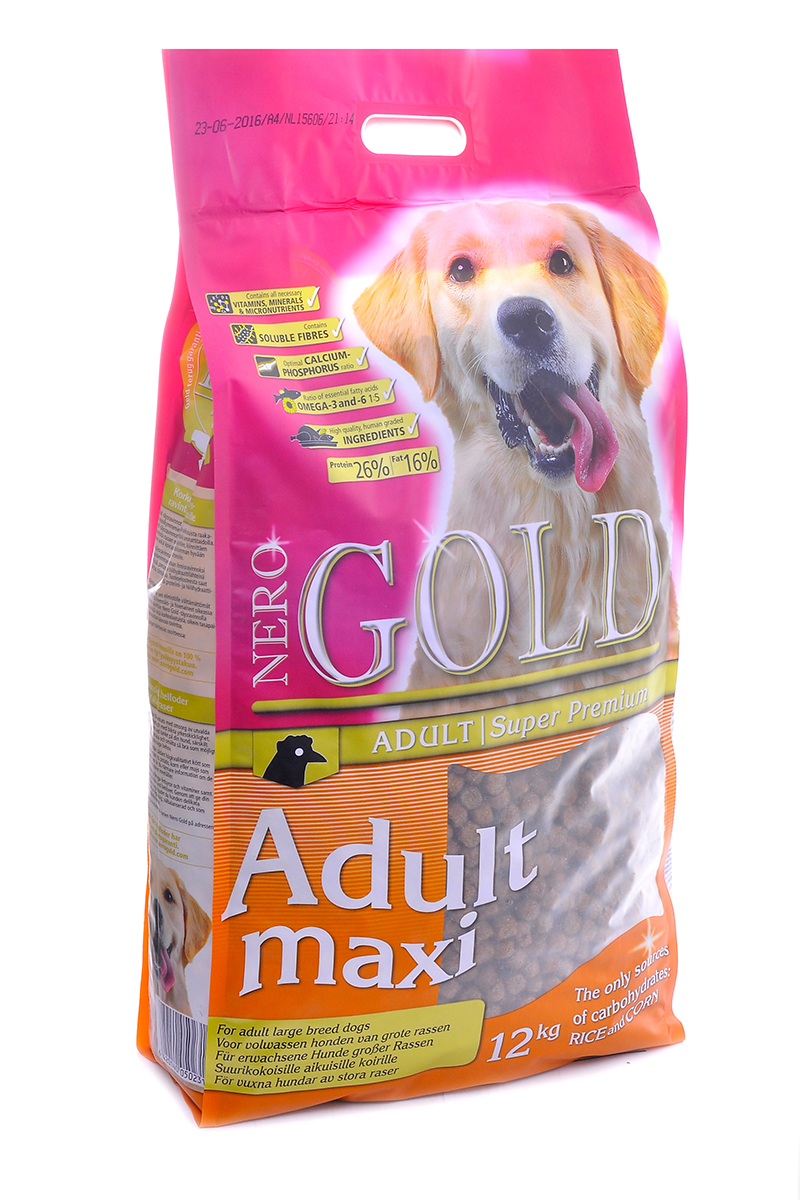 NERO GOLD super premium Для Взрослых собак Крупных пород (Adult Maxi 26/16), 12 кг. nero gold nero gold adult cat chicken 18 кг