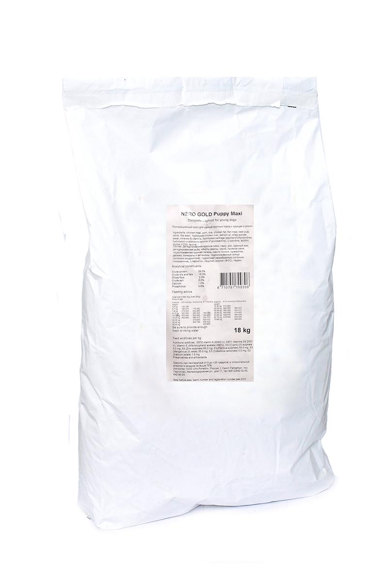 Корм сухой Nero Gold Super premium, для щенков крупных пород, с курицей и рисом, 18 кг10193Корм сухой Nero Gold Super premium - полнорационный сбалансированный корм Супер Премиум класса для щенков крупных пород на основе курицы. Изготовлен из куриного мяса которое легко усваивается организмом и содержит необходимое количество питательных веществ, витаминов, минералов и аминокислотдля здоровья вашего питомца.Состав: дегидрированное куриное мясо, маис, рис, куриный жир, дегидрированная рыба, мякоть свеклы, кэроб, льняное семя, гидролизованная куриная печень, масло лосося, сыворотка, дрожжи, минералы и витамины, гидролизованные хрящи (источник хондроитина), гидролизат ракообразных (источник глюкозамина), L-карнитин, лецитин, инулин (ФОС), таурин. Условия хранения: в прохладномтемном месте.Протеин 29%, жиры 18%, клетчатка 2%, зола 6%, влажность 10,0%, фосфор 0,8%, кальций 1,0%.