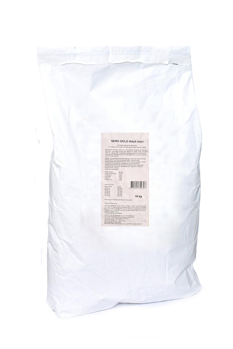 Корм сухой Nero Gold Adult Maxi, для взрослых собак крупных пород, 18 кг10195Nero Gold Adult Maxi - это линейка полностью сбалансированных кормов для взрослых собак крупных пород супер премиум класса.Не содержит пшеницу, сою, молочные ингредиенты, говядину, свинину, субпродукты и ГМО. Именно эти ингредиенты вызывают пищевую непереносимость. Состав: дегидрированное мясо курицы, маис, рис, куриный жир, мякоть свеклы, дегидрированная рыба, льняное семя, гидролизованная куриная печень, масло лосося, дрожжи, кэроб, минеральные вещества и витамины, яичный порошок, гидролизованные хрящи (источник хондроитина), гидролизат ракообразных (источник глюкозамина), L-карнитин, лецитин, инулина (ФОС), таурин. Пищевая ценность: протеин 26%, жиры 16%, клетчатка 2,5%, зола 6%, влажность 10%, фосфор 0,9%, кальций 1,6%.Пищевые добавки (на 1 кг): витамин A (E672) 20 000 IU, витамин D3 (E671) 2 000 IU, витамин E (альфа токоферола ацетат) 200 мг, витамин C (фосфат аскорбиновой кислоты) 50 мг, сульфат железа 50 мг, иодат кальция 1,5 мг, сульфат меди 5 мг, сульфат марганца 35 мг, сульфат цинка 65 мг.Товар сертифицирован.