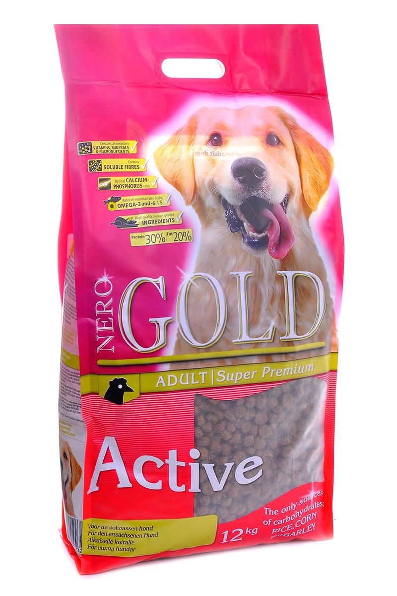 Корм сухой Nero Gold Active, для активных взрослых собак, курица и рис, 12 кг корм сухой nero gold adult lamb для взрослых собак ягненок и рис 2 5 кг
