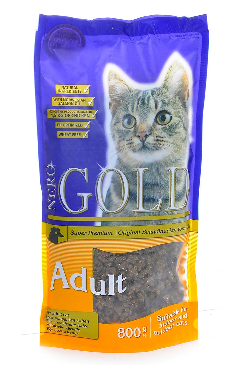 Корм сухой Nero Gold Adult, для кошек, с курицей, 800 г20049Сухой корм Nero Gold Adult - это полнорационный и сбалансированный корм супер премиум класса для взрослых кошек всех пород и возрастов с курицей. В состав корма для кошек Nero Gold входит одна из самых жизненно важных для здоровья и развития организма аминокислота - Таурин. Корма для кошек Nero Gold не содержат такие ингредиенты как: пшеница, соя, свинина, субпродукты и продукты ГМО. Также корма Nero Gold известны в Европе и славятся своим непревзойденным вкусом. Удобная и качественная упаковка поможет сохранить корм вкусным и не даст ему выветриться.Состав: дегидрированное мясо курицы, рис, маис, куриный жир, рыбная мука, ячмень, дегидрированная куриная печень, мякоть свеклы, дрожжи, яичный порошок, рыбий жир, минералы и витамины, хондроитина, глюкозамина, лецитин, инулин, таурин, холин хлорид.Анализ: белки 32,0%, жиры 18,0%, клетчатка 2,0%, зола 6,0%, влага 8,0%, фосфор 0,9%, кальций 1,4%.Пищевые добавки (на 1 кг): витамин A 20000 ME, витамин D3 2000 ME, витамин E 400 мг, таурин 1000 мг, E1 75 мг, E2 1,5 мг, E4 5 мг, E5 30 мг, E6 65 мг.Товар сертифицирован.