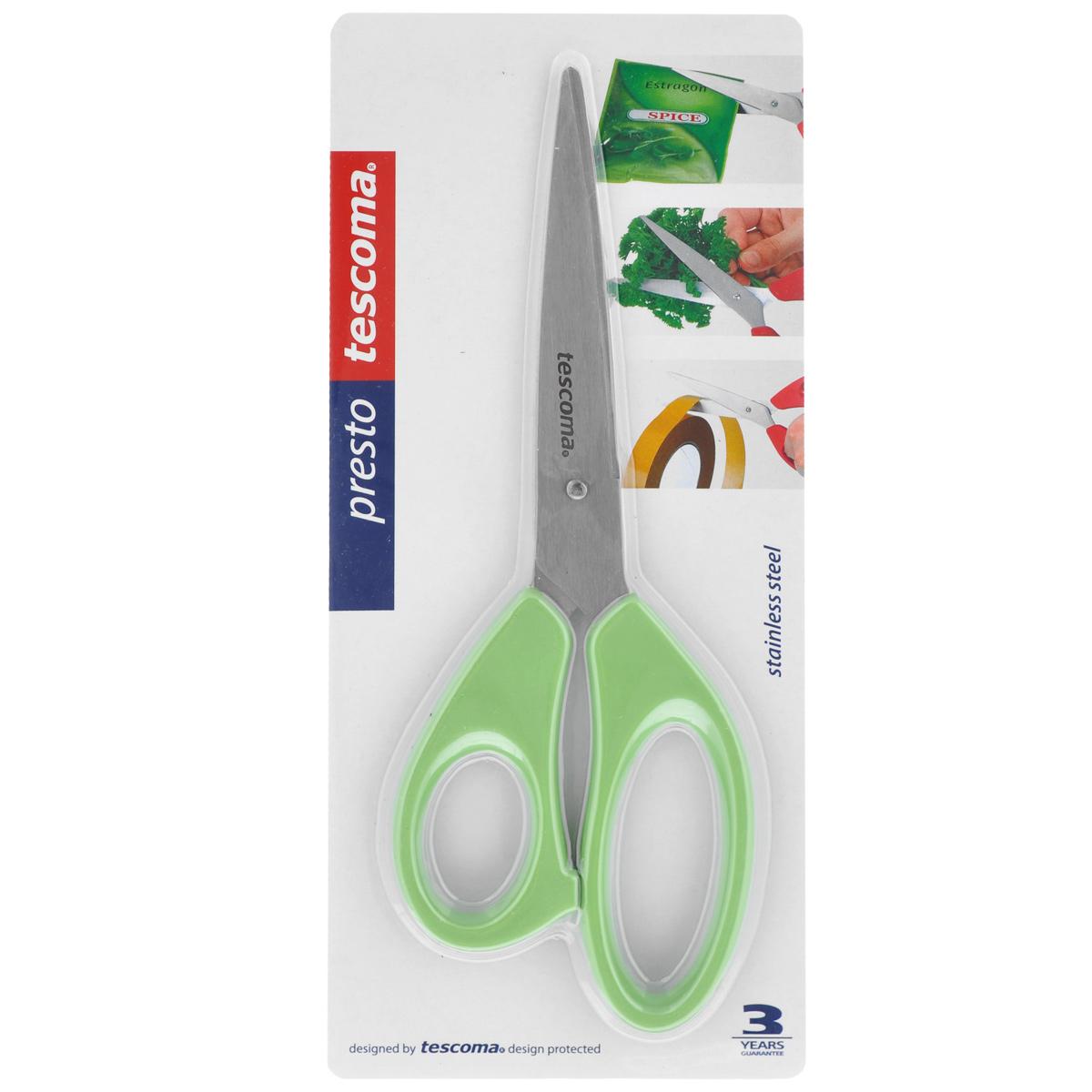 Ножницы Tescoma Presto, цвет: салатовый, длина 22 см888214_салатовыйУниверсальные ножницы Tescoma Presto предназначены для дома и офиса, пригодны для резки всех обычных материалов - бумаги, ткани и т.д. Ими также удобно нарезать зелень, разрезать пакеты. Лезвия изготовлены из первоклассной нержавеющей стали, а рукоятки - из пластика.Длина ножниц: 22 см.