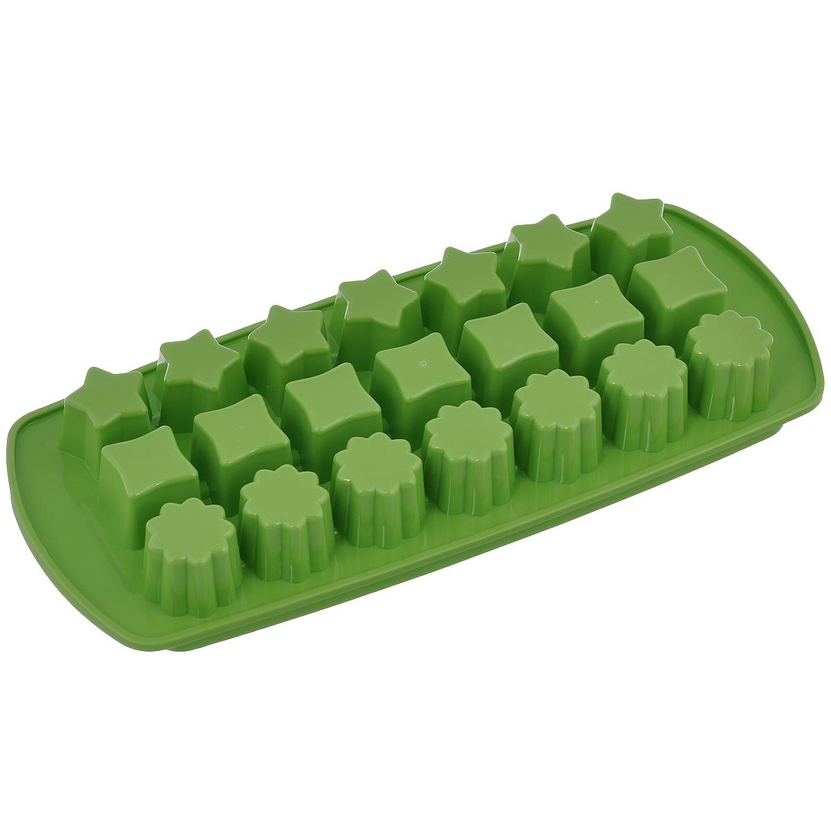 Форма для льда Tescomа Presto, цвет: зеленый, 21 ячейка420706_зеленыйФорма для льда Tescoma Presto выполнена из прочного пластика. За один раз вы можете приготовить 21 кубик льда. Теперь на смену традиционным квадратным пришли новые оригинальные формы для приготовления фигурного льда, которыми можно не только охладить, но и украсить любой напиток. В формочки при заморозке воды можно помещать ягодки, такие льдинки не только оживят коктейль, но и добавят радостного настроения гостям на празднике!Общий размер формы: 27 см х 11,5 см х 3 см. Средний размер ячейки: 2,5 см х 2,5 см. Количество ячеек: 21 шт.
