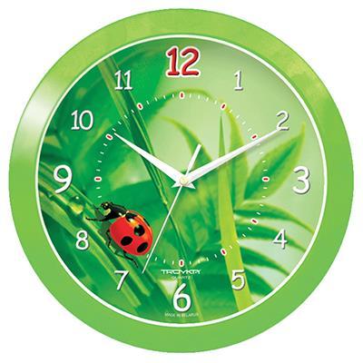 часы настенные troyka 11131117 Часы настенные Troyka Божья коровка, цвет: зеленый