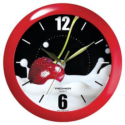 Часы настенные Troyka, цвет: красный. 1113012811130128Настенные кварцевые часы Troyka с изображением вишни, изготовленные из пластика, прекрасно подойдут под интерьер вашего дома. Круглые часы имеют три стрелки: часовую, минутную и секундную, циферблат защищен прозрачным пластиком. Диаметр часов: 29 см. Часы работают от 1 батарейки типа АА напряжением 1,5 В.Внимание! Часы укомплектованы бесплатным тестовым элементом питания для обеспечения их работоспособности при предпродажной подготовке и демонстрации рабочих функций.