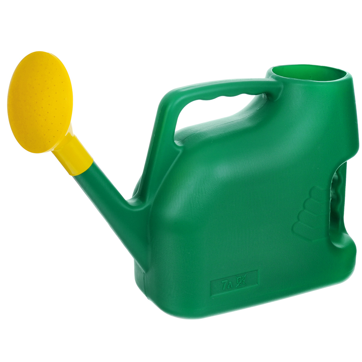Лейка Альтернатива, цвет: зеленый, 7 л. M222M222_зеленыйСадовая лейка Альтернатива предназначена для полива насаждений на приусадебном участке. Она выполнена из пластика и имеет небольшую массу, что позволяет экономить силы при поливе. Удобство в использовании также обеспечивается за счет эргономичной ручки лейки. Выпуклая насадка позволяет производить равномерный полив, не прибивая растения. Лейка имеет большое горлышко для наливания воды. Лейка Альтернатива станет незаменимой на вашем огороде или в саду.