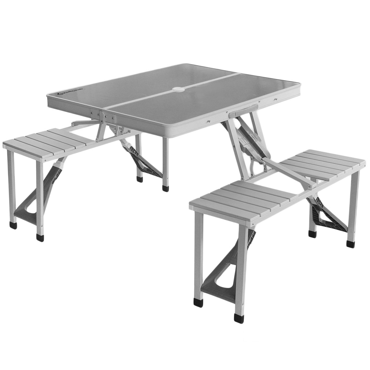 Набор складной мебели KingCampУТ-000049721Набор складной мебели KingCamp предназначен для создания комфортных условий в туристических походах, охоте, рыбалке и кемпинге. Набор состоит из конструкции в виде стала и двух скамеек, выполненных из алюминия и пластика. В сложенном виде набор занимает мало места. Размер стола: 86 см х 67 см х 70 см.Размер скамьи: 85 х 35 х 42 см. Площадь установки: 136 см х 86 см.Вес: 10 кг.