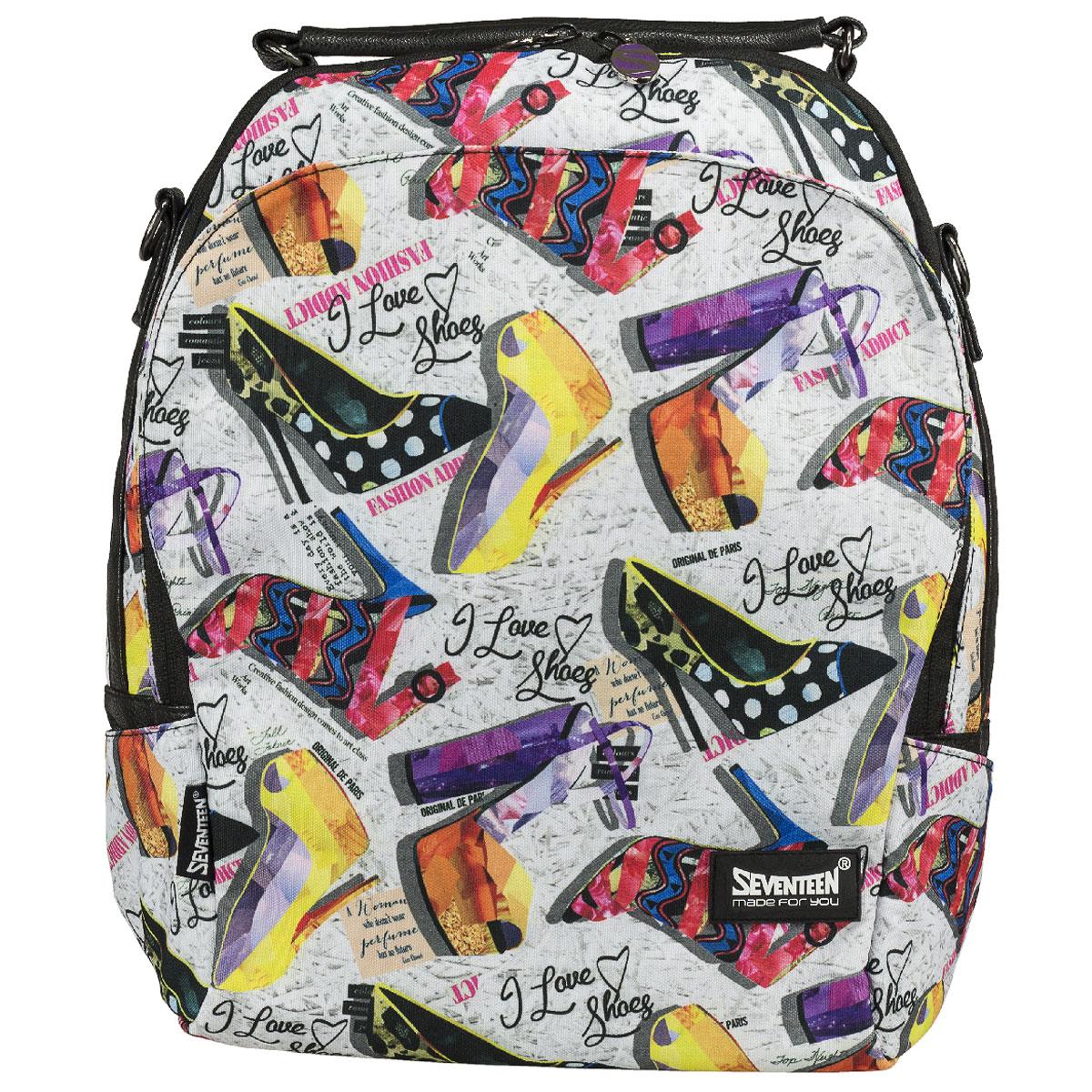 Сумка-рюкзак молодежная Seventeen, цвет: черный, мультицвет. SVCB-RT3-596SVCB-RT3-596Молодежная сумка-рюкзак Seventeen выполнена из высококачественных материалов и оформлена красочным принтом.Модель содержит одно вместительное отделение на застежке-молнии с двумя бегунками. Внутри отделения находятся прорезной карман на молнии и два открытых кармашка. Фронтальный карман с клапаном на магнитах. Задняя стенка сумки-рюкзака оснащена прорезным карманом на молнии. По бокам изделия находятся открытые карманы. Сумка оснащена удобной ручкой для переноски в руке, а также плечевым ремнем, с помощью которого сумку-рюкзак можно носить на плече и как рюкзак.Такую сумку-рюкзак можно использовать для повседневных прогулок, отдыха и спорта, а также как элемент вашего имиджа.Рекомендуемый возраст: от 12 лет.