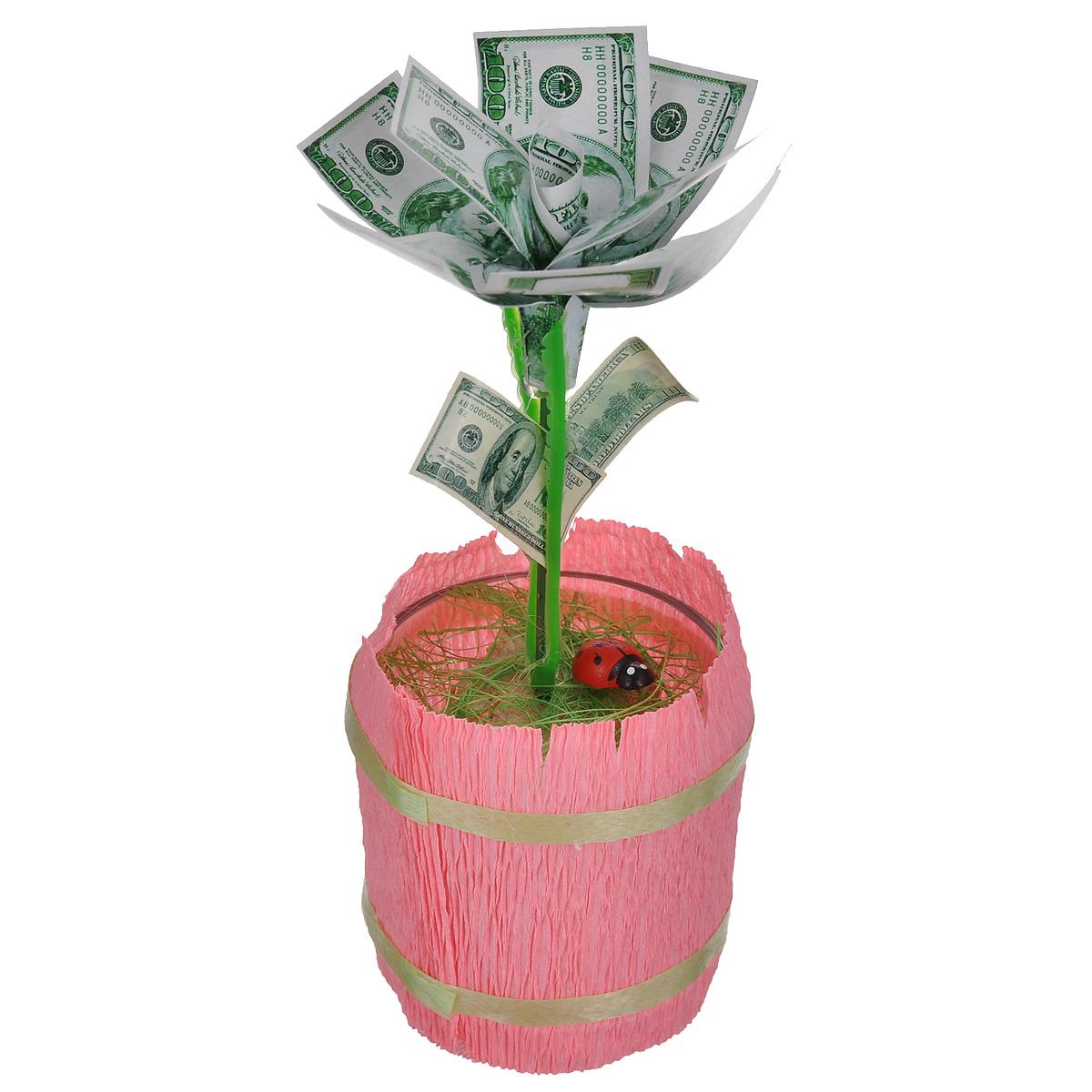 Денежный цветок Расцвет бизнеса. Доллары, цвет: розовый, зеленый, белый89968Настольная композиция Расцвет бизнеса. Доллары выполнена в виде симпатичного денежного цветка. На пластиковый стебель цветка насажены миниатюрные купюры достоинством в 100 долларов. Цветок закреплен в стеклянном стакане-горшочке, оформленном гофрированной бумагой. У основания цветка расположена забавная божья коровка.Такой симпатичный денежный цветок будет отличным подарком к любому случаю! Высота цветка: 14 см. Диаметр цветка: 6 см.