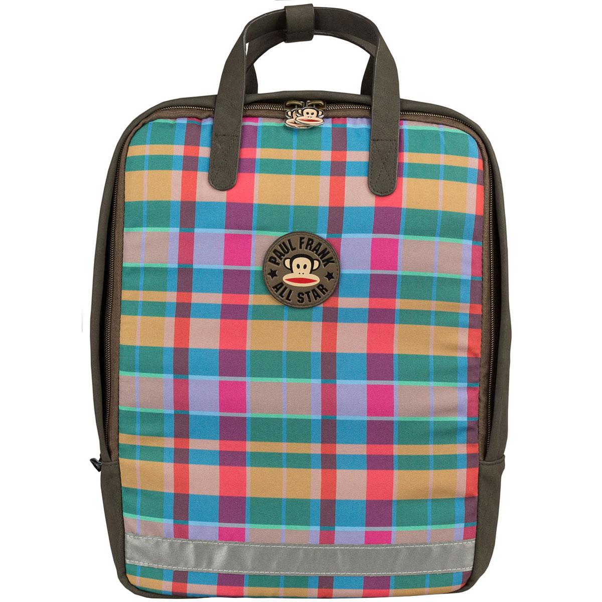 Сумка-рюкзак молодежная Paul Frank, цвет: коричневый, мультицветPFCB-UT1-615Молодежная сумка-рюкзак Paul Frank выполнена из высококачественных материалов.Содержит одно вместительное отделение на застежке-молнии с двумя бегунками. Внутри отделения находится мягкий карман для гаджетов, прорезной карман на застежке-молнии и два открытых кармашка.Дно сумки-рюкзака можно сделать жестким, разложив специальную пластиковую панель. Мягкие широкие регулируемые по длине лямки, при желании их можно убрать в специальное отделение на спинке. Фронтальная сторона изделия уплотнена поролоном. Сверху сумка-рюкзак оснащена петлей для подвешивания и двумя ручками для переноски в руке, а с помощью фиксатора на кнопке их можно соединить в одну. Светоотражающие элементы обеспечивают дополнительную безопасность в темное время суток.Такую сумку-рюкзак можно использовать для повседневных прогулок, отдыха и спорта, а также как элемент вашего имиджа.Рекомендуемый возраст: от 13 лет.