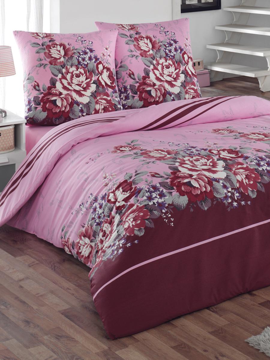 Комплект белья Tete-a-tete Classic Шармэль, евро, наволочки 70х70, цвет: бордовый, розовый, фиолетовый комплект постельного белья quelle tete a tete 1010965 2сп 70х70 2